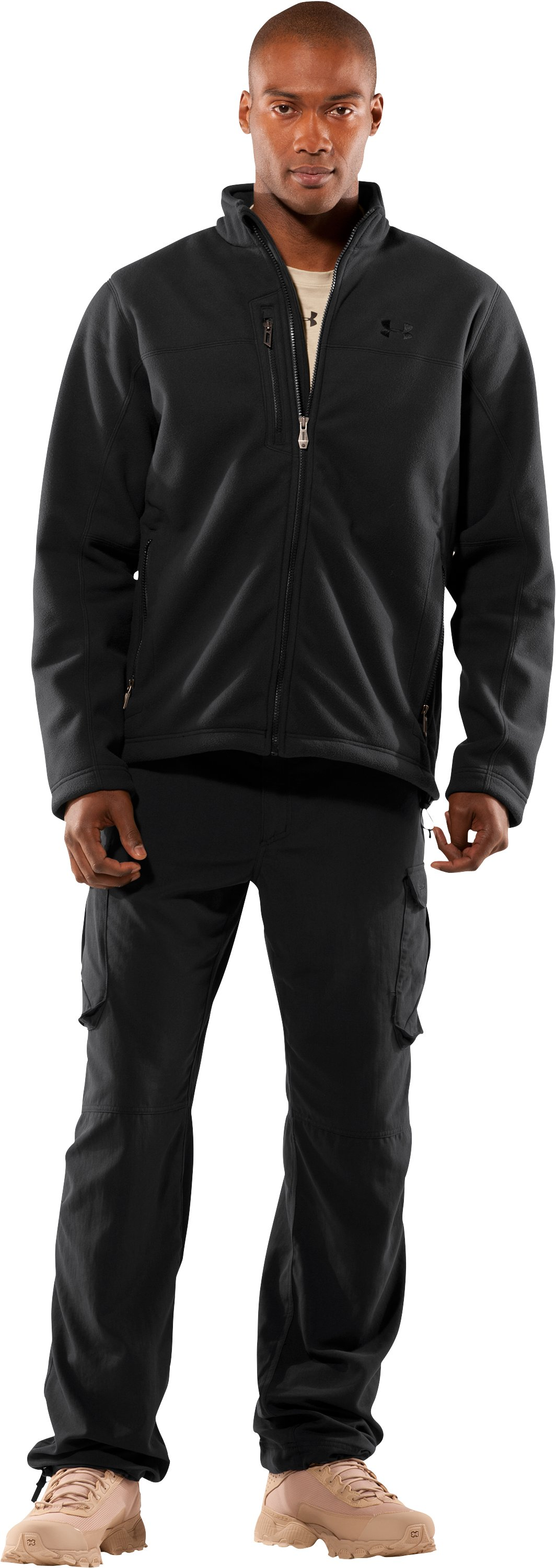 Men's Tactical Windproof Fleece Jacket, Black , Front