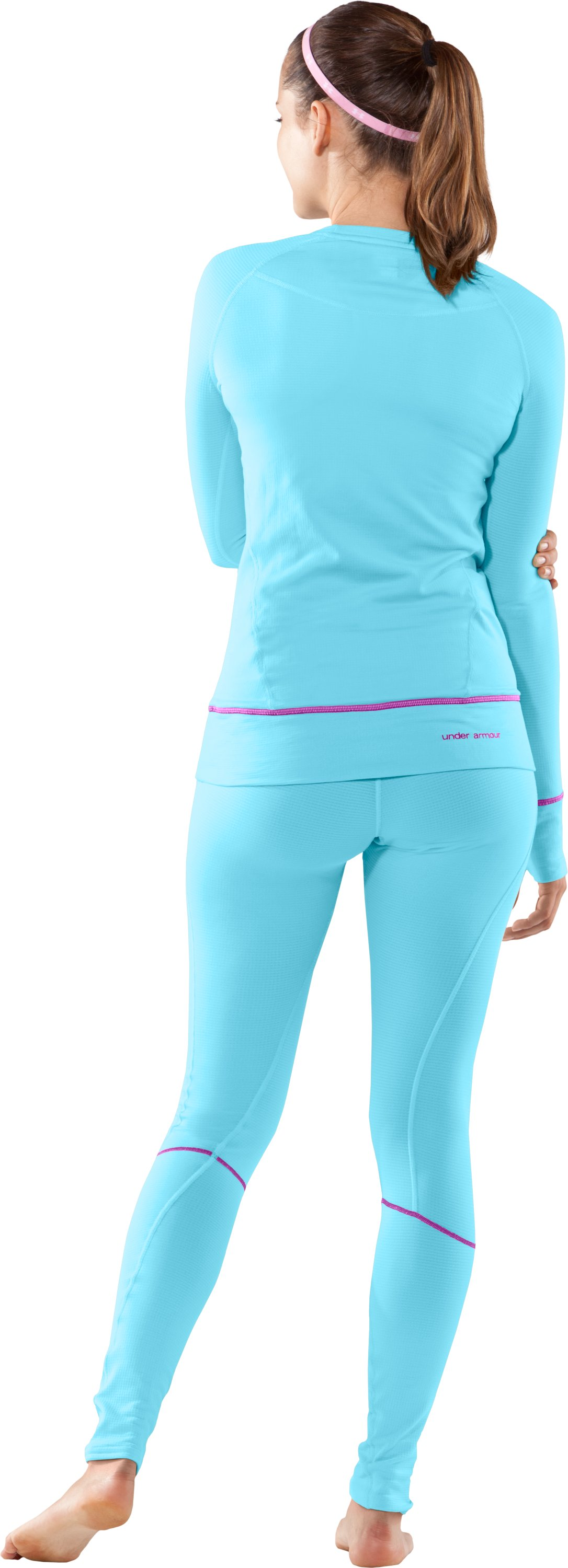 Women's UA Base® 2.0 Long Sleeve Crew, Bright Sky, Back