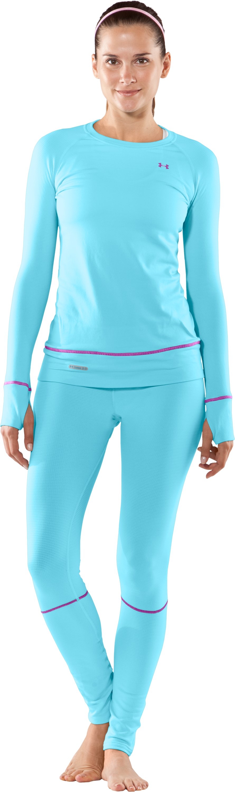 Women's UA Base® 2.0 Long Sleeve Crew, Bright Sky, Front