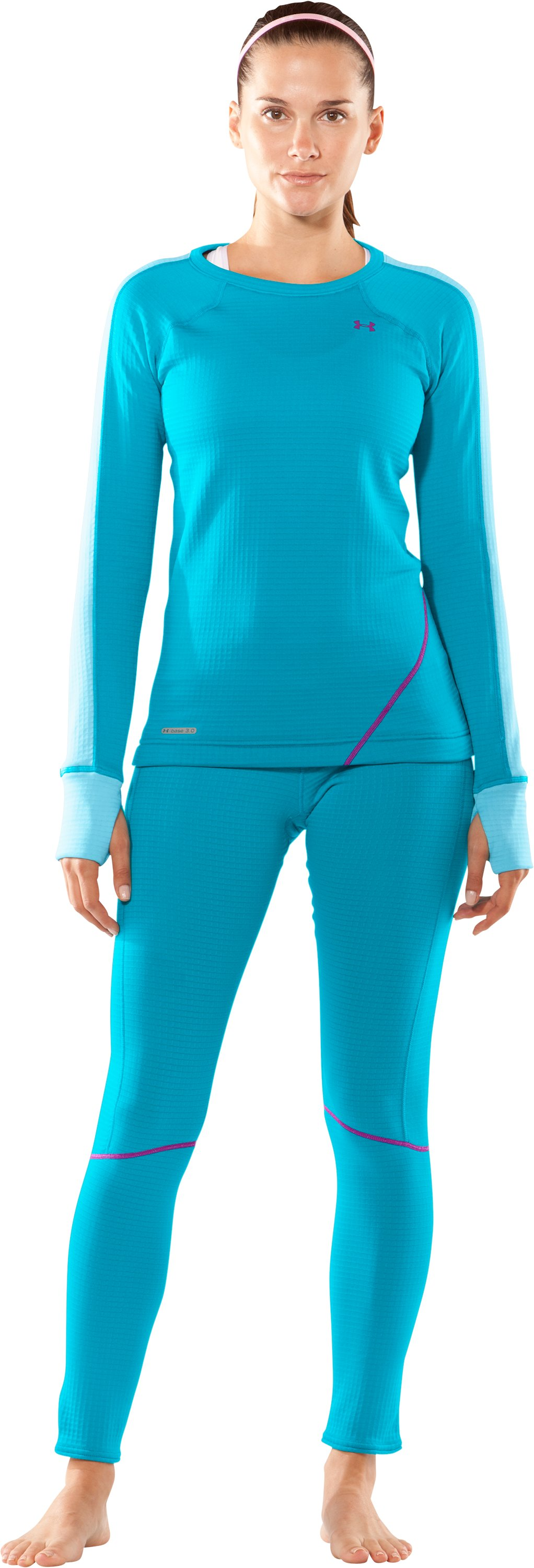 Women's UA Base™ 3.0 Long Sleeve Crew, Pacific, zoomed image
