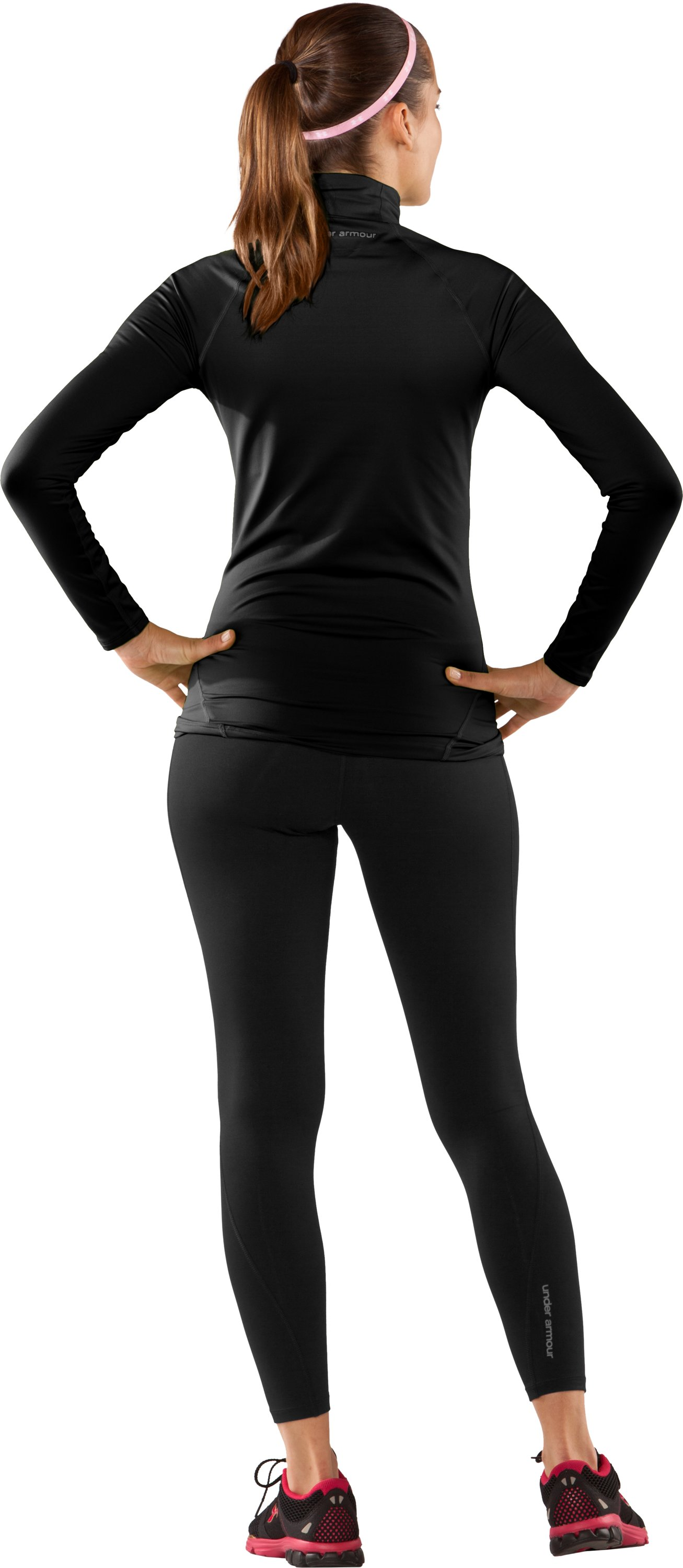 Women's UA EVO ColdGear® Long Sleeve Mock, Black , Back