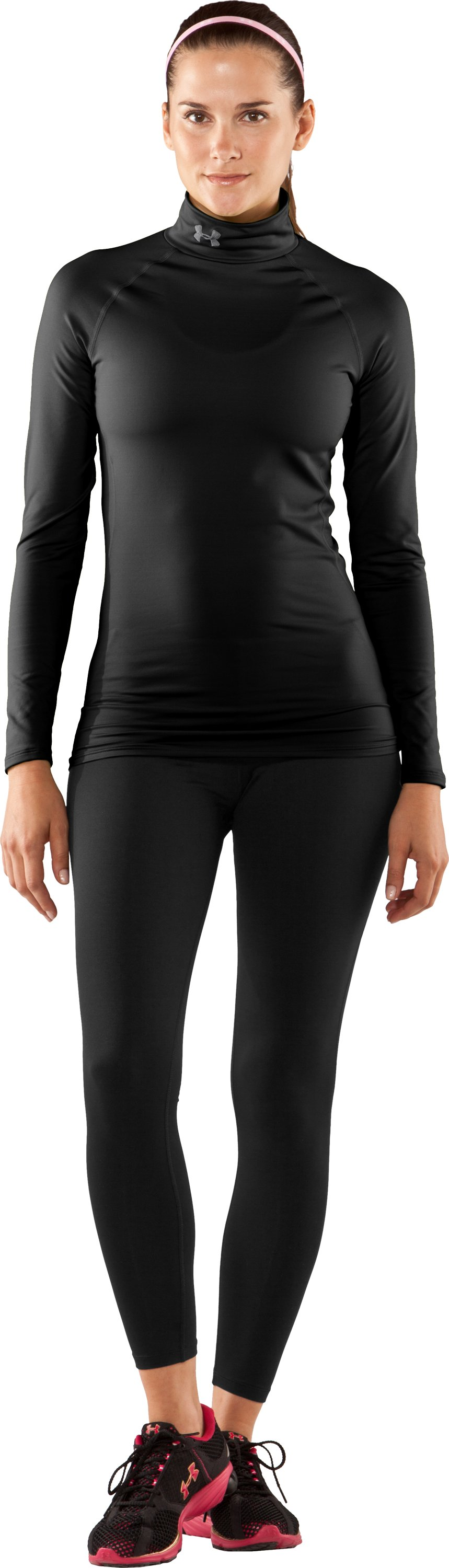 Women's UA EVO ColdGear® Long Sleeve Mock, Black , Front