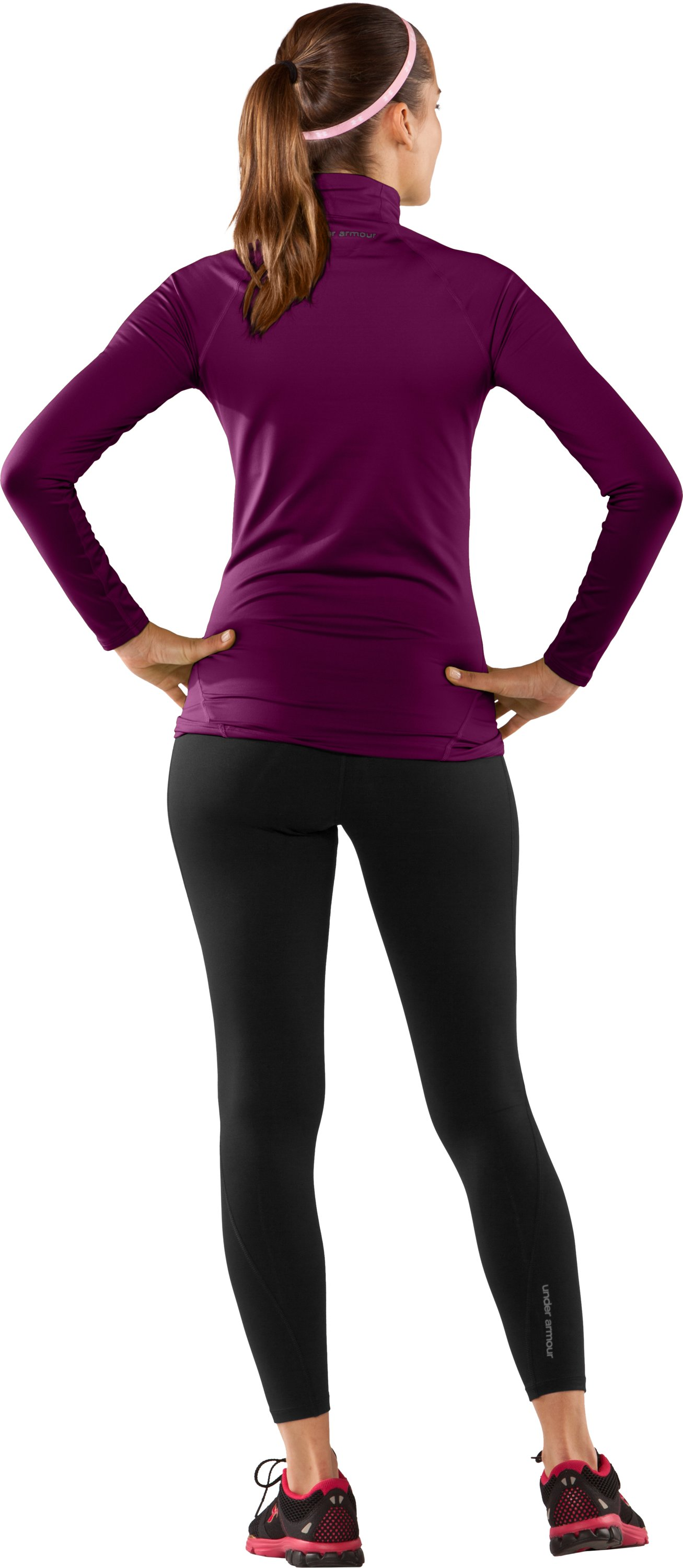 Women's UA EVO ColdGear® Long Sleeve Mock, Aubergine, Back