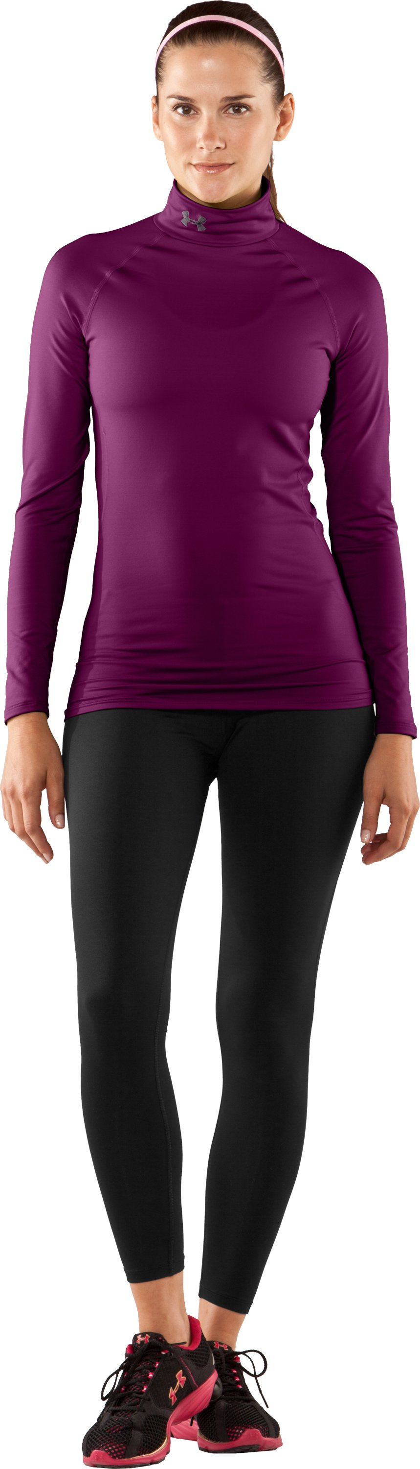Women's UA EVO ColdGear® Long Sleeve Mock, Aubergine, Front