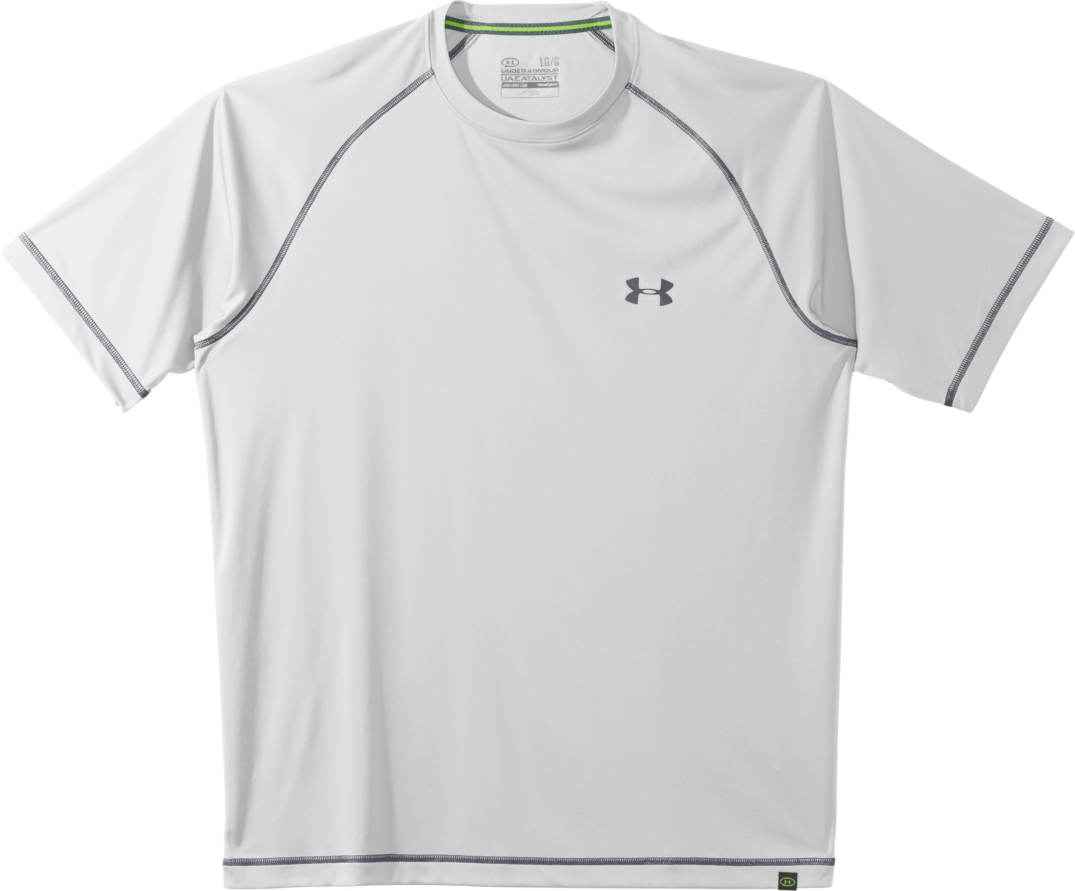 Men's UA Catalyst Short Sleeve T-Shirt, White, Laydown