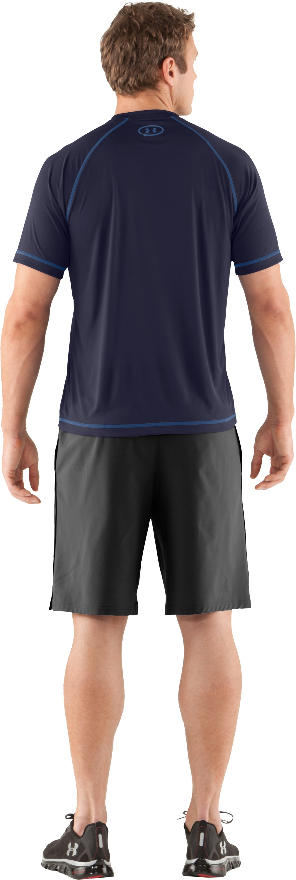 Men's UA Catalyst Short Sleeve T-Shirt, Midnight Navy, Back