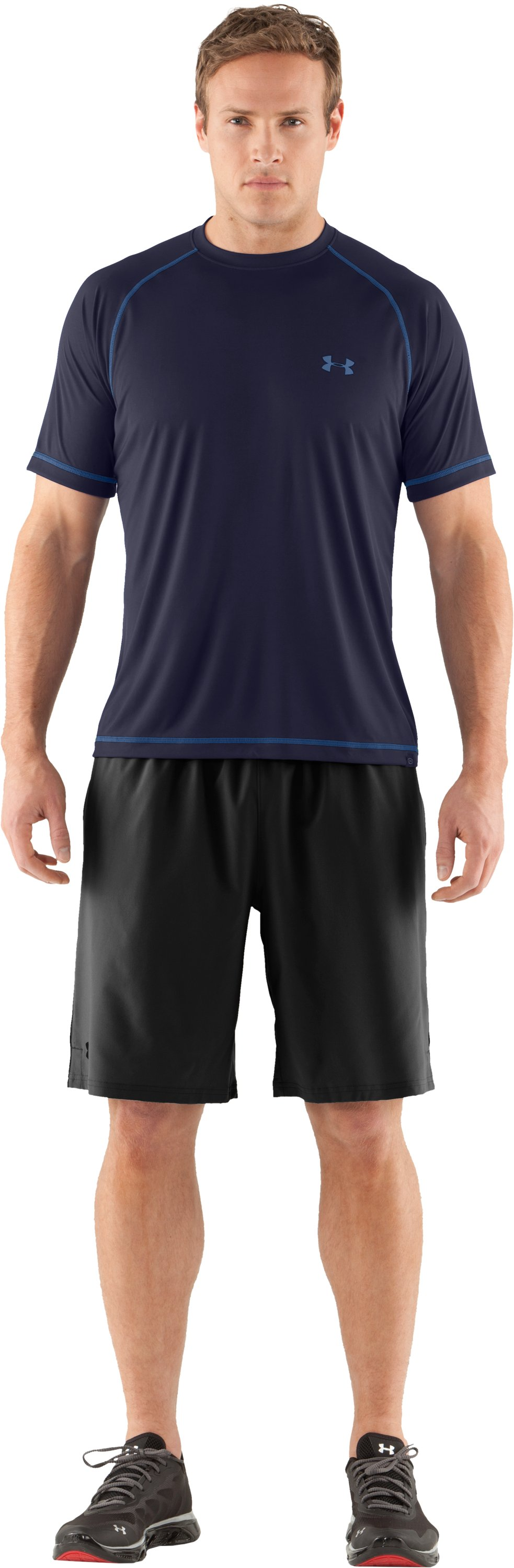 Men's UA Catalyst Short Sleeve T-Shirt, Midnight Navy, zoomed image