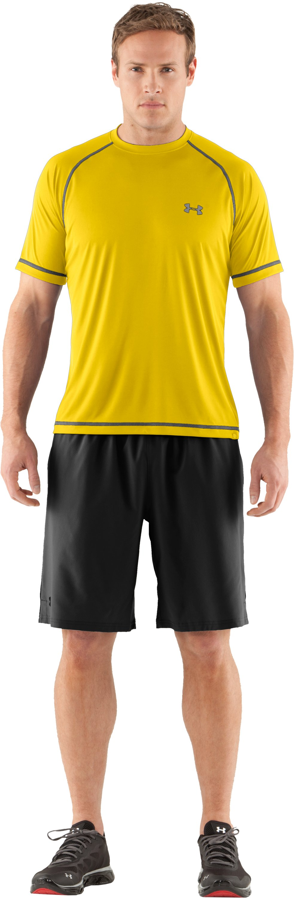 Men's UA Catalyst Short Sleeve T-Shirt, Taxi, Front