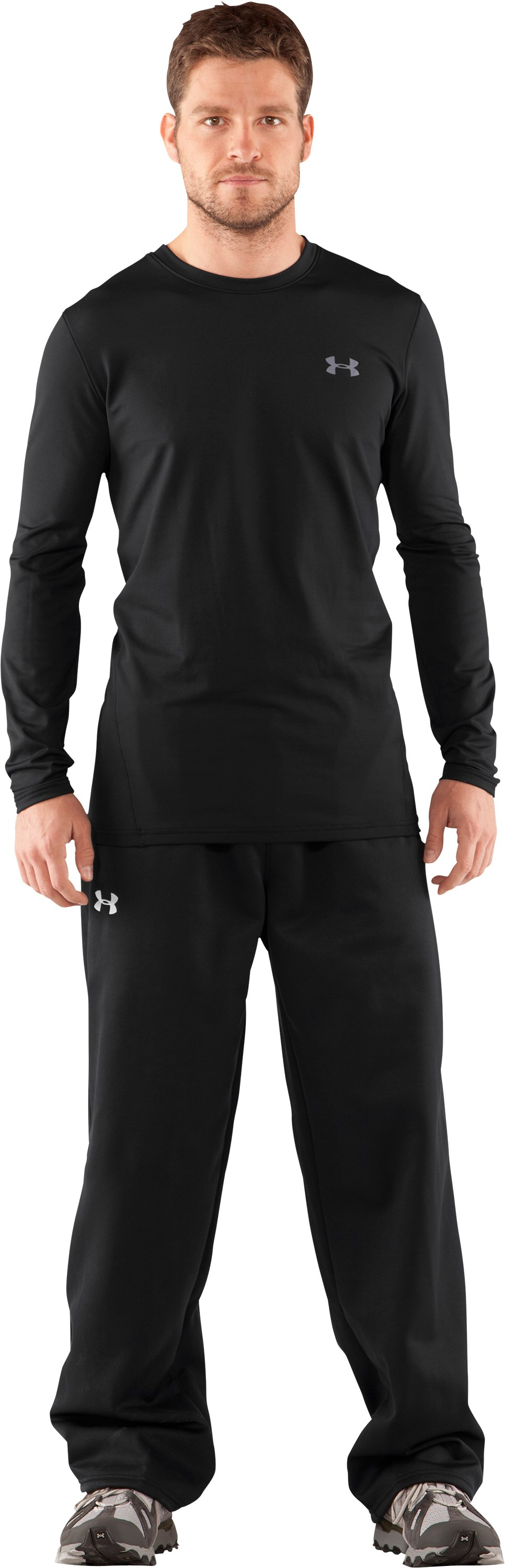 Men's UA EVO ColdGear® Fitted Long Sleeve Crew, Black , Front