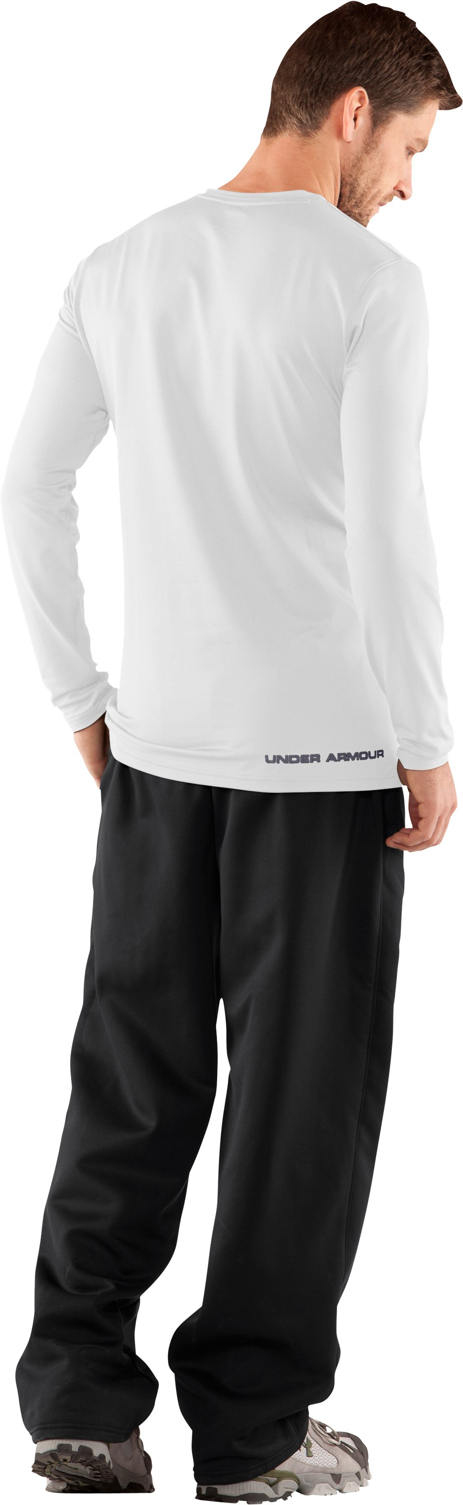 Men's UA EVO ColdGear® Fitted Long Sleeve Crew, White, Back