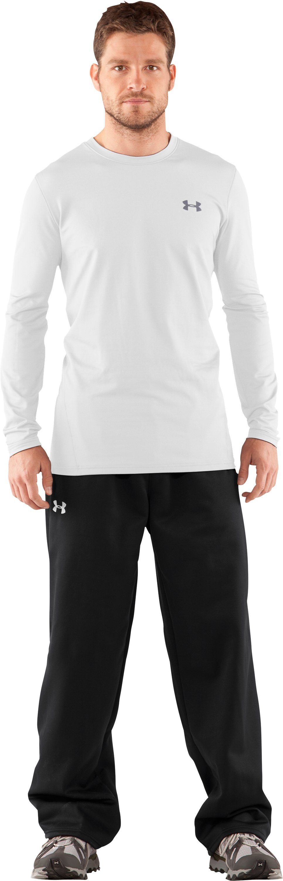 Men's UA EVO ColdGear® Fitted Long Sleeve Crew, White, Front