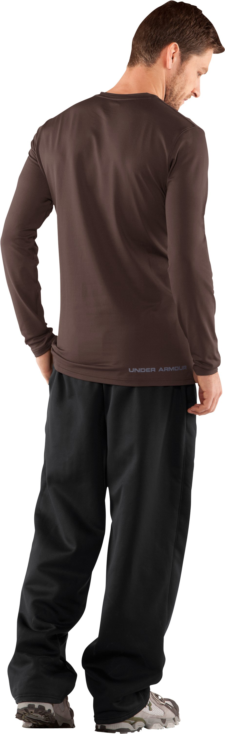Men's UA EVO ColdGear® Fitted Long Sleeve Crew, Timber, Back