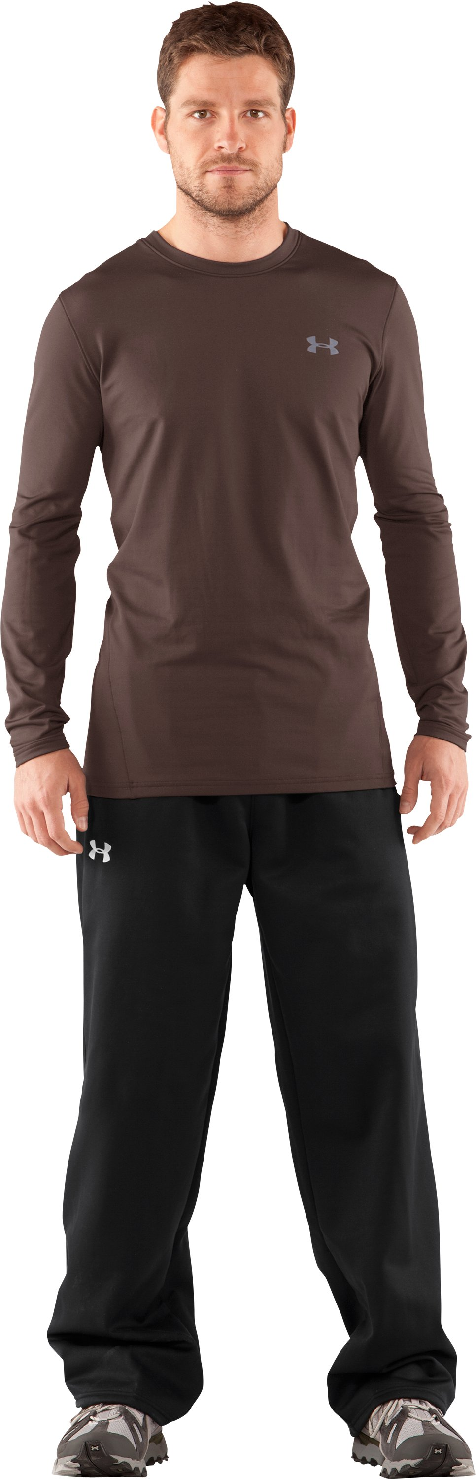 Men's UA EVO ColdGear® Fitted Long Sleeve Crew, Timber, Front