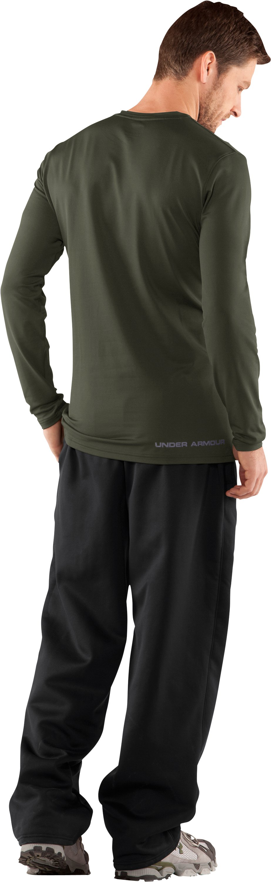 Men's UA EVO ColdGear® Fitted Long Sleeve Crew, Rifle Green, Back