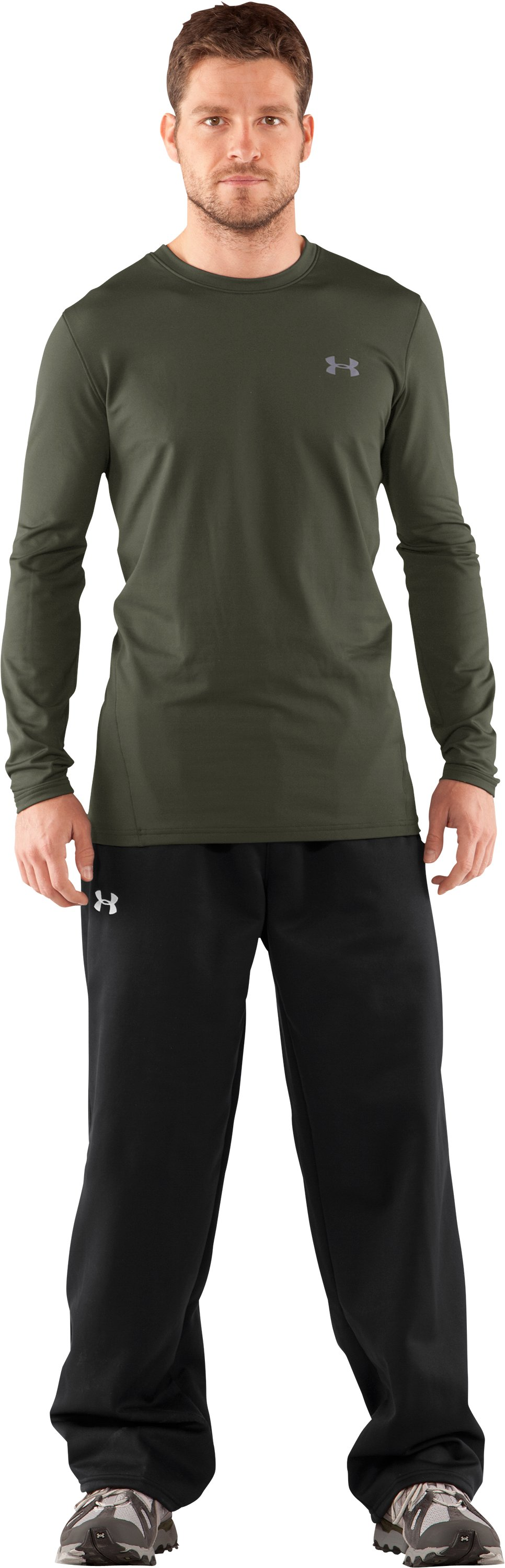 Men's UA EVO ColdGear® Fitted Long Sleeve Crew, Rifle Green, Front
