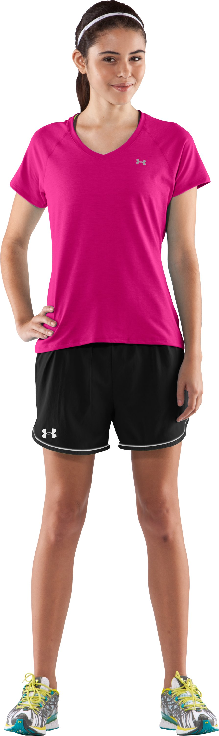 Women's UA Tech™ Short Sleeve V-Neck T-Shirt, Rush, Front