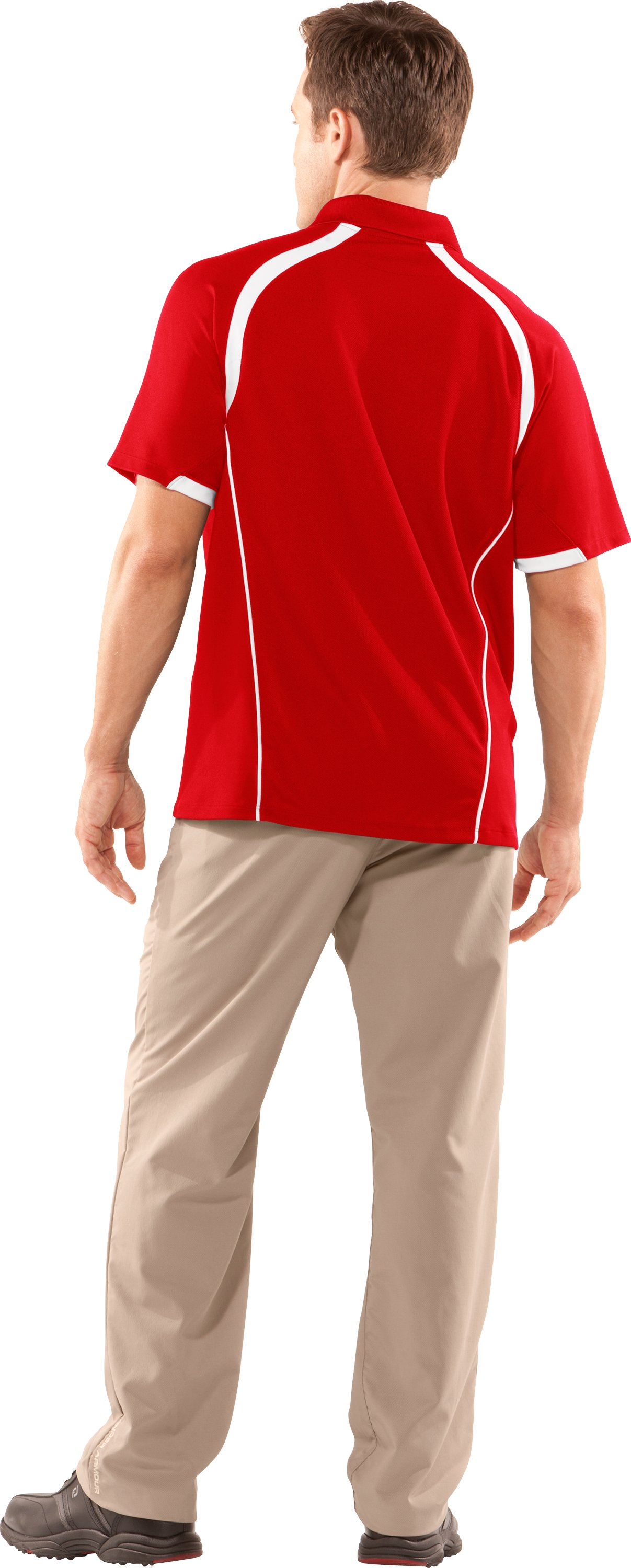 Men's Advantage Short Sleeve Golf Polo, Red, Back