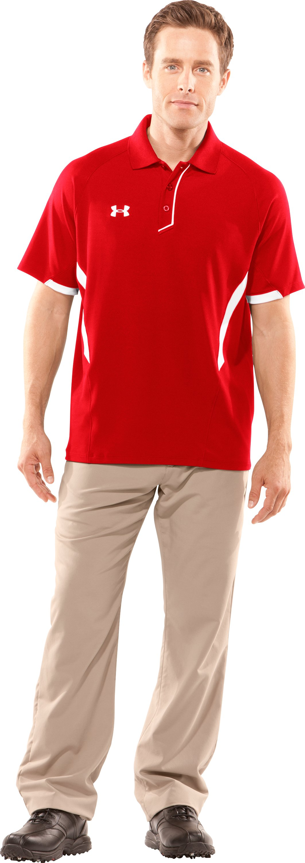 Men's Advantage Short Sleeve Golf Polo, Red, Front