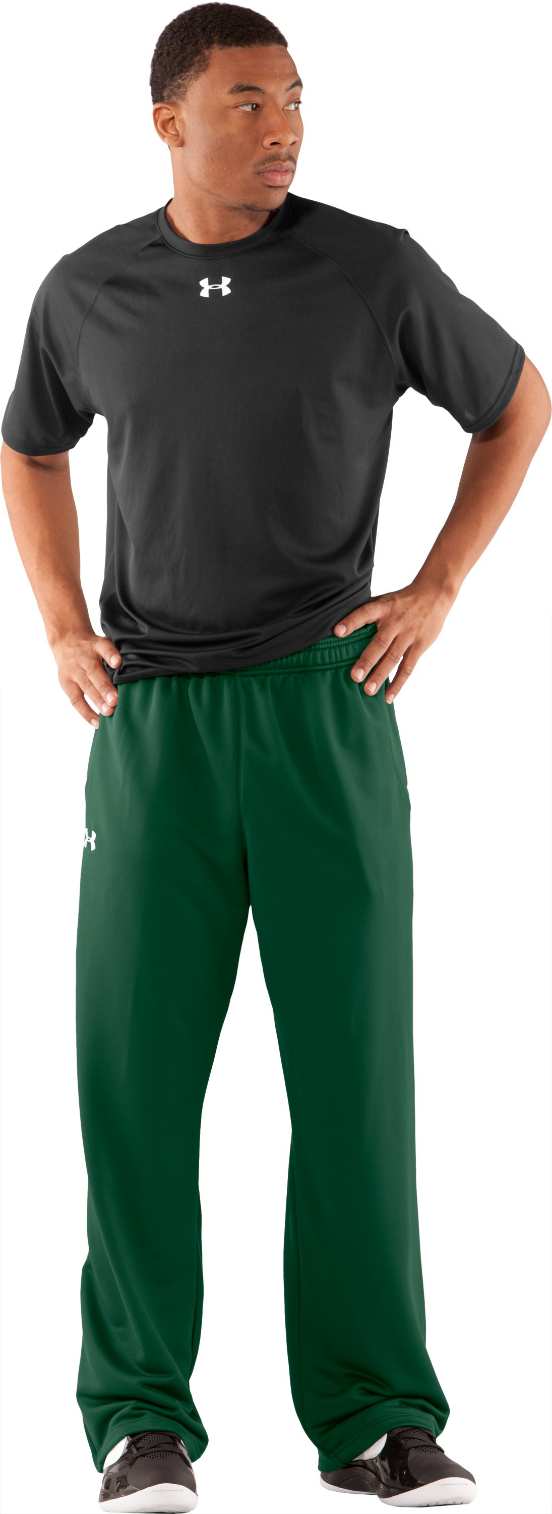 Men's UA Scout Knit Pants, Forest Green, Front