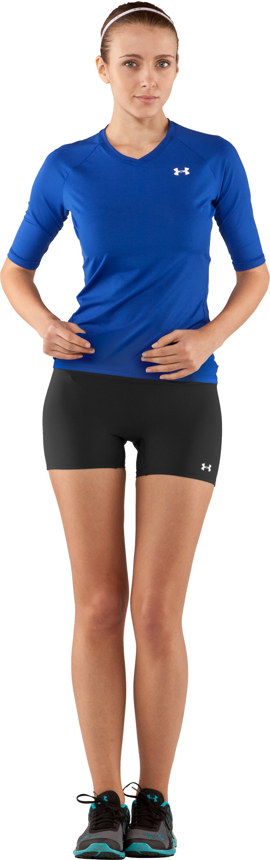 "Women's UA React 4"" Compression Shorts, Black , Front"