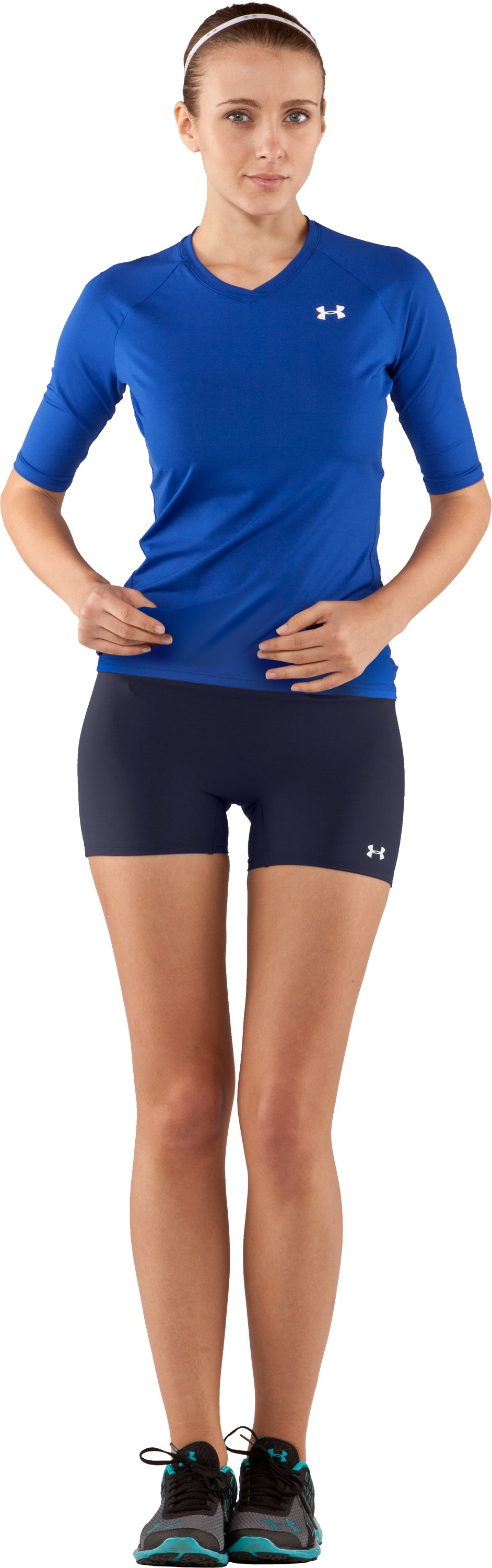 "Women's UA React 4"" Compression Shorts, Midnight Navy, Front"