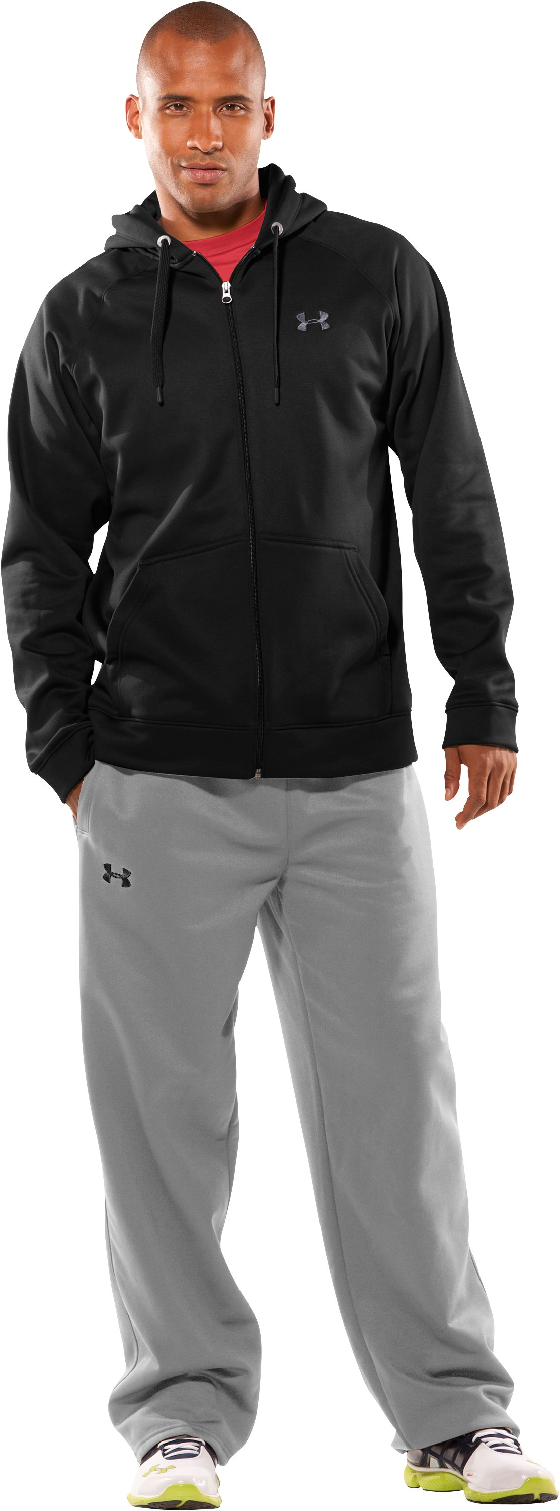 Men's Armour® Fleece Full Zip Hoodie, Black , Front