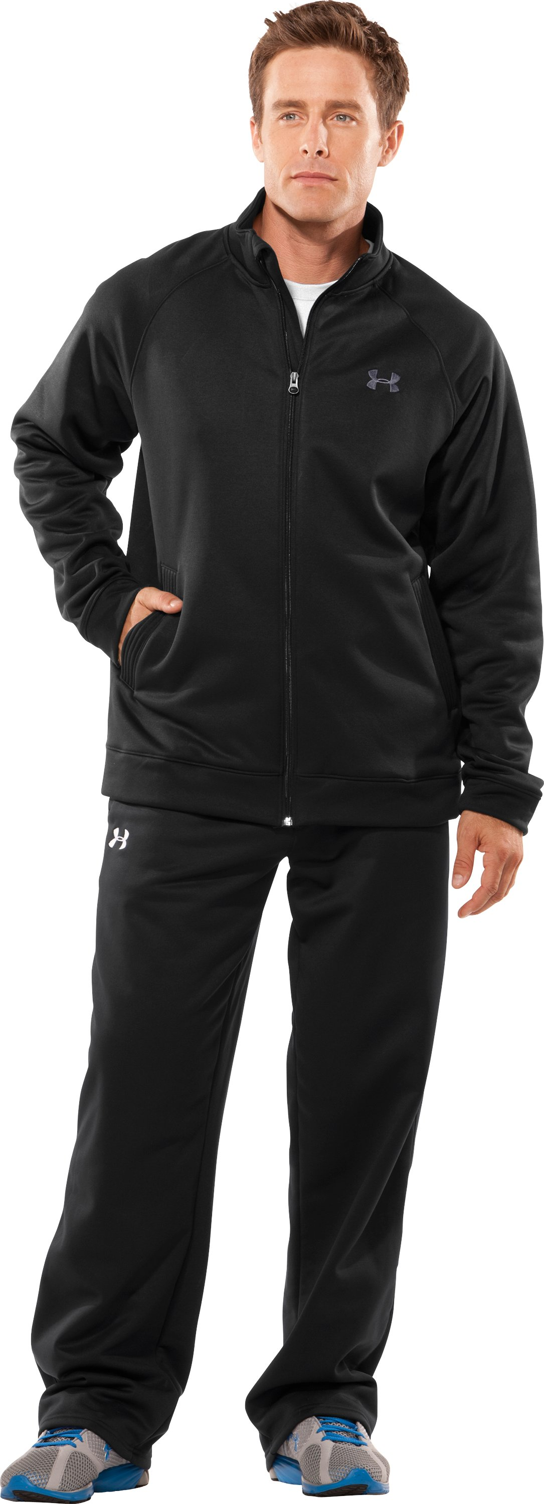 Men's Armour® Fleece Full Zip Jacket, Black , Front