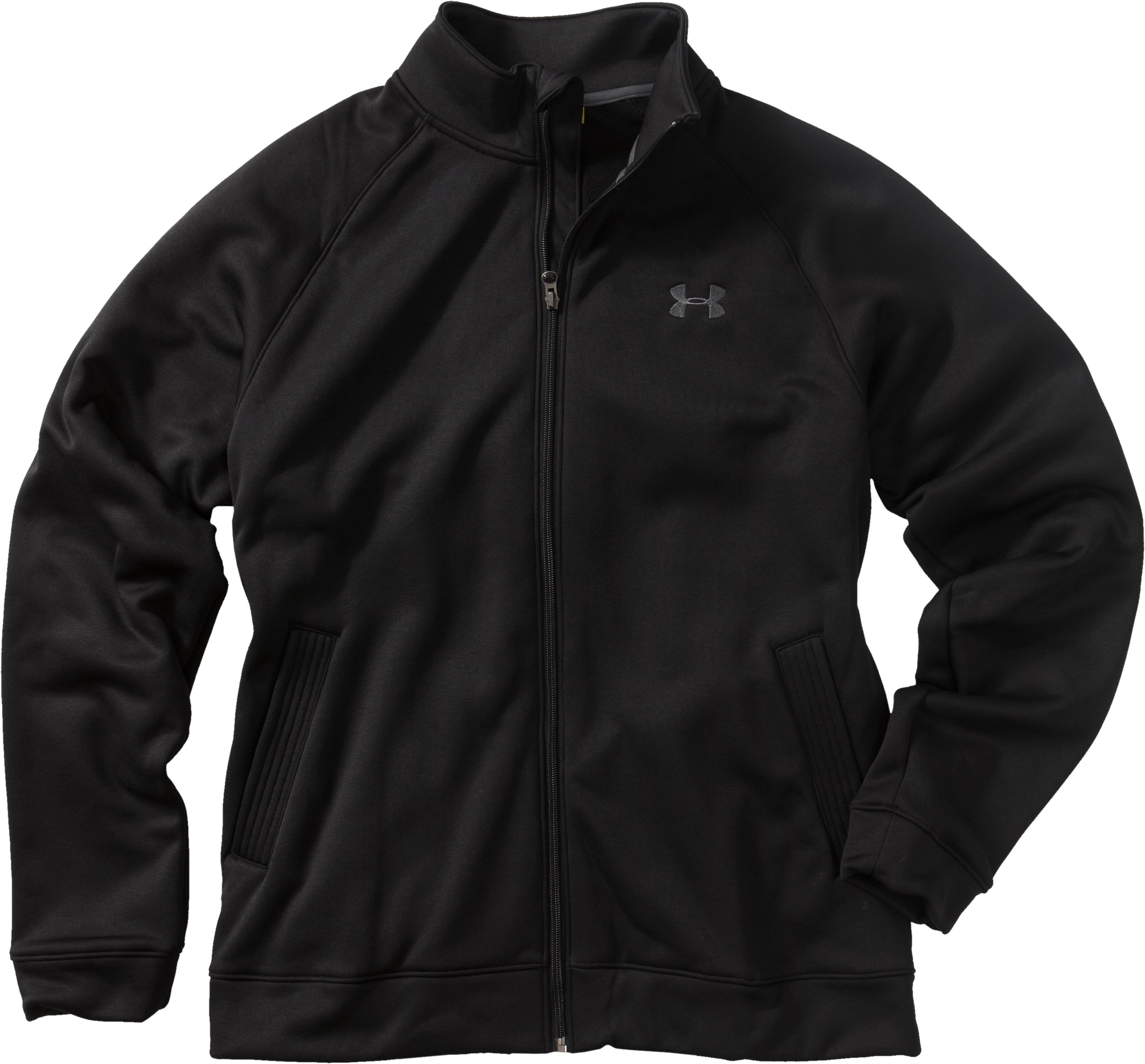 Men's Armour® Fleece Full Zip Jacket, Black , Laydown