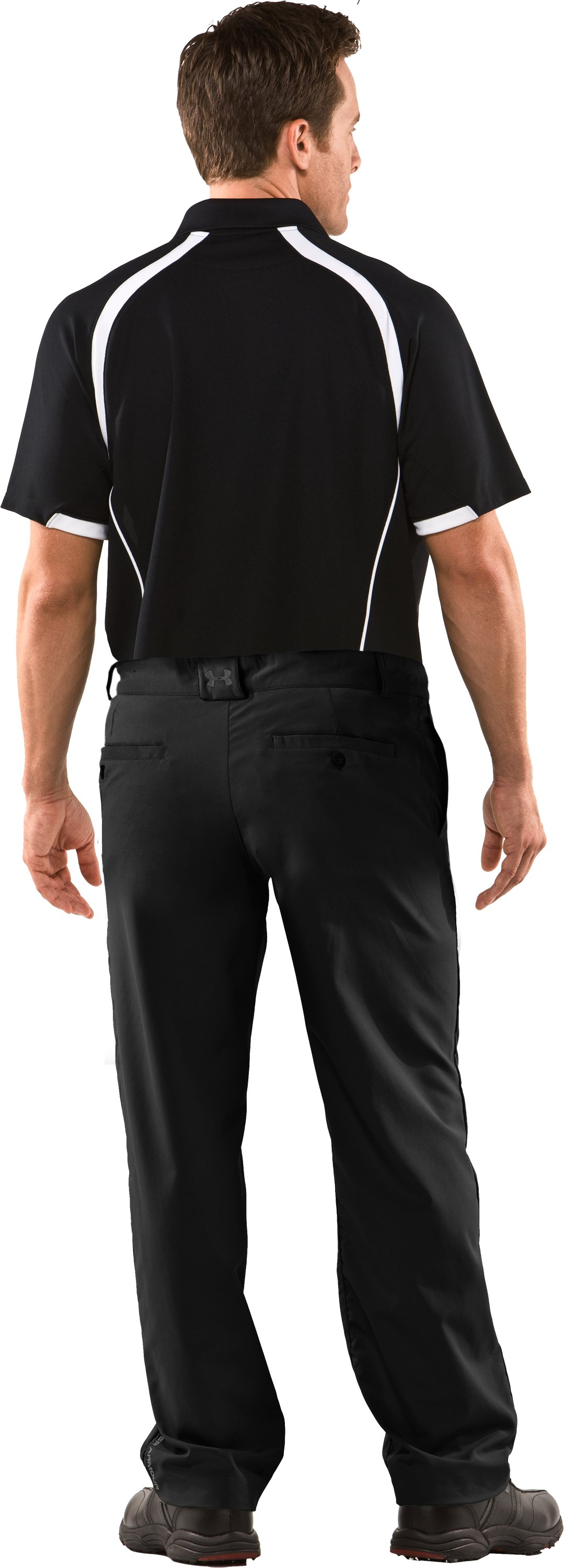 Men's Performance Flat Front Pants, Black , Back