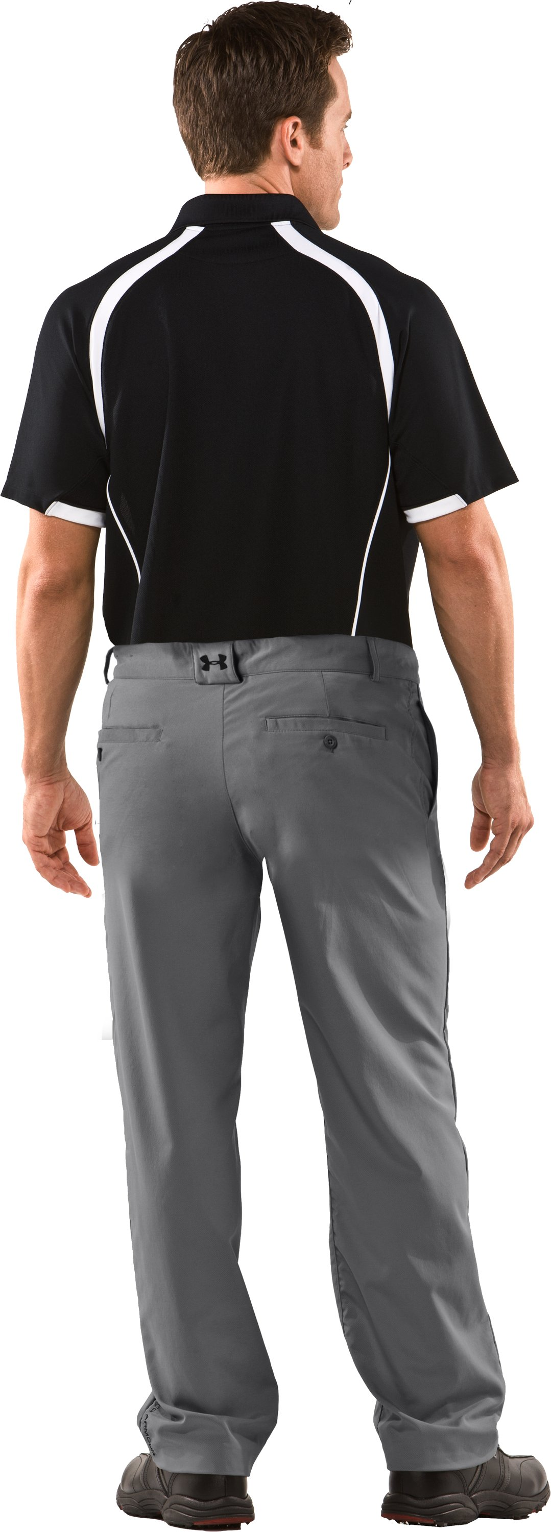 Men's Performance Flat Front Pants, Graphite, Back