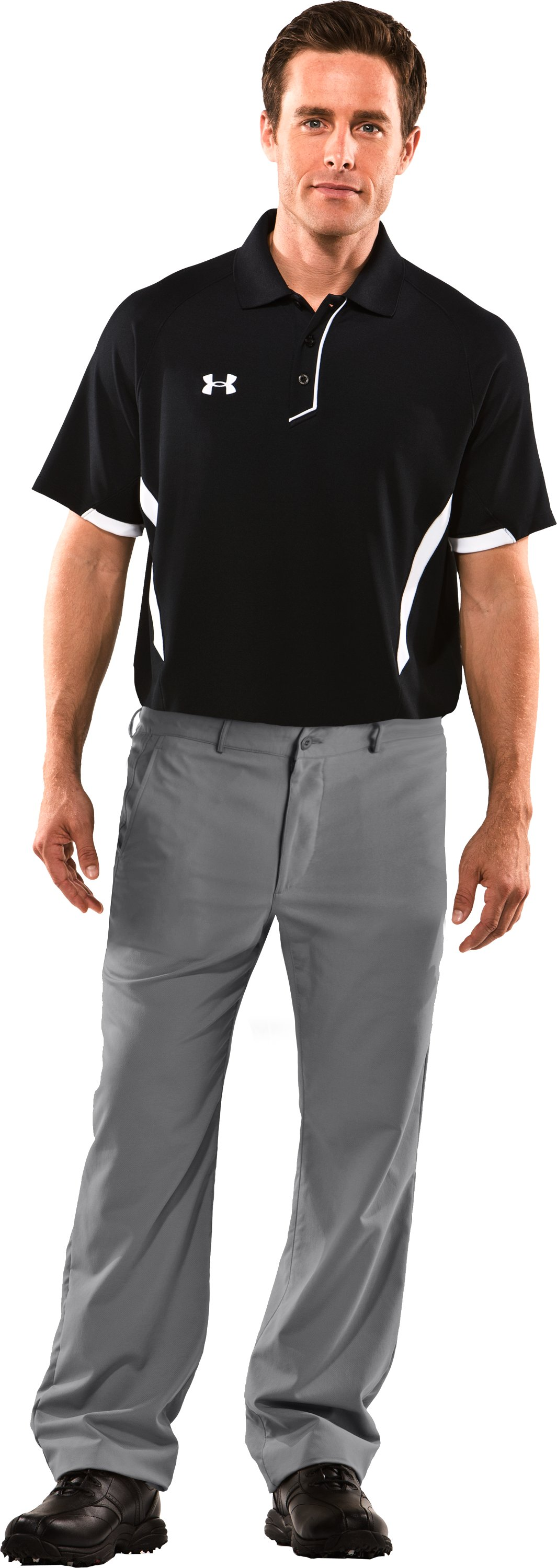 Men's Performance Flat Front Pants, Graphite, Front