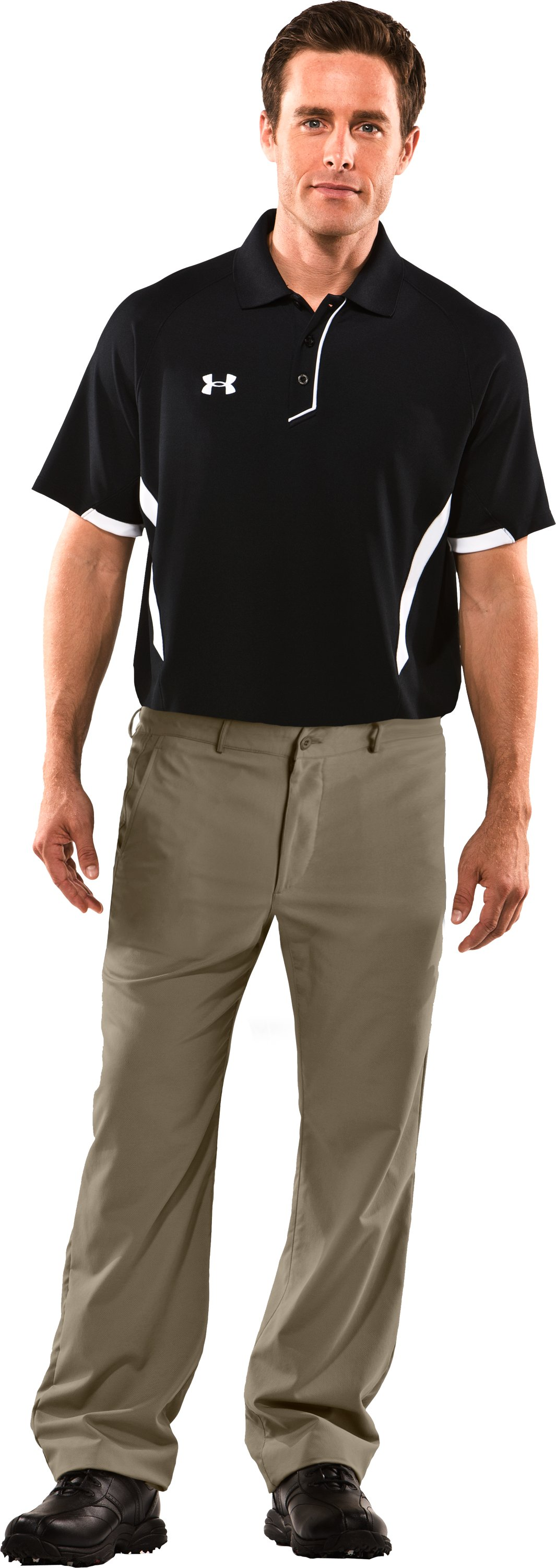 Men's Performance Flat Front Pants, Dune, Front