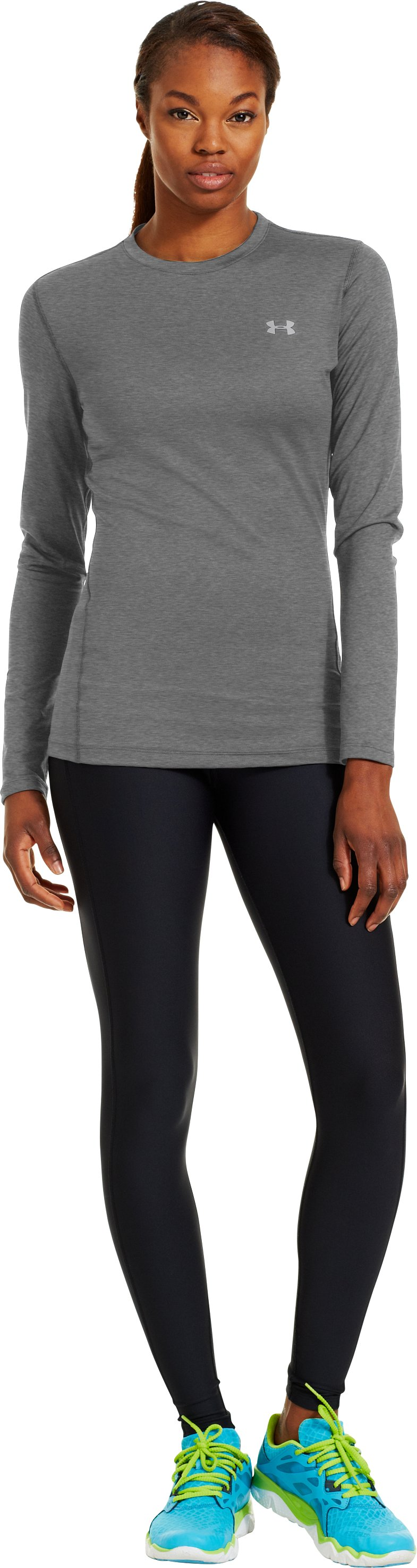 Women's ColdGear® Fitted Long Sleeve Crew, Carbon Heather, Front