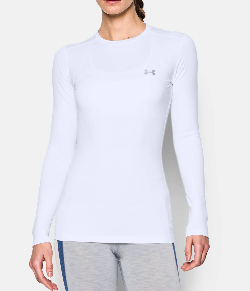 Women s coldgear fitted long sleeve crew under armour us for Long sleeve fitted tee shirt