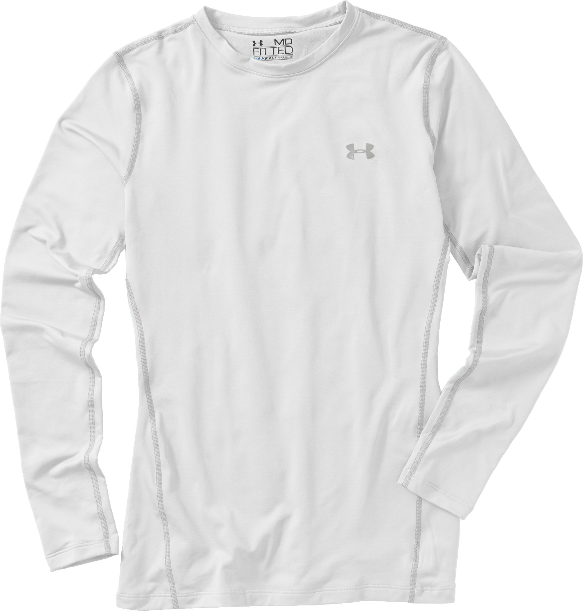 Women's ColdGear® Fitted Long Sleeve Crew, White, Laydown