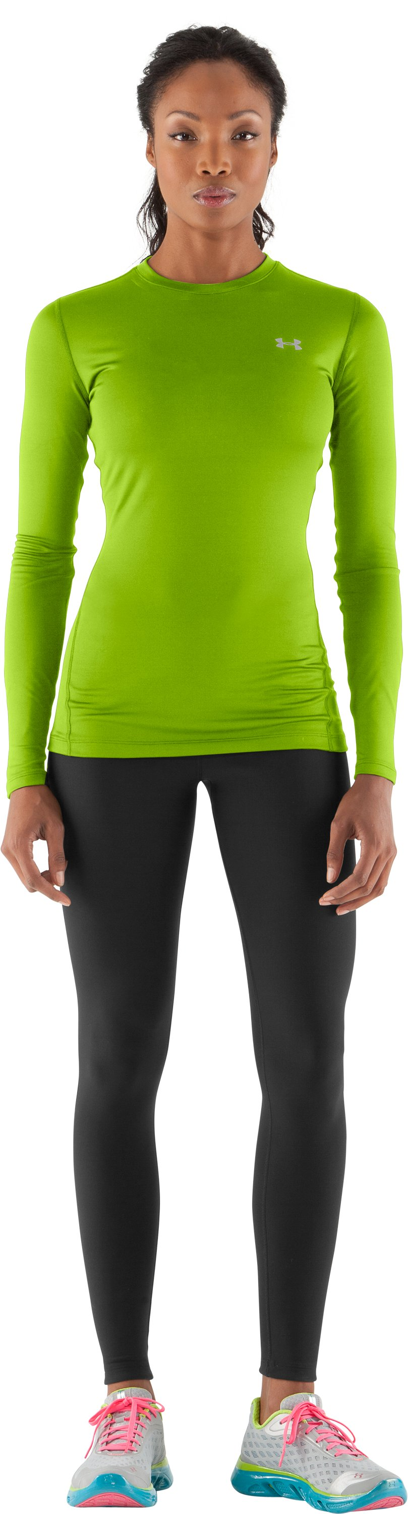 Women's ColdGear® Fitted Long Sleeve Crew, Fusion, Front