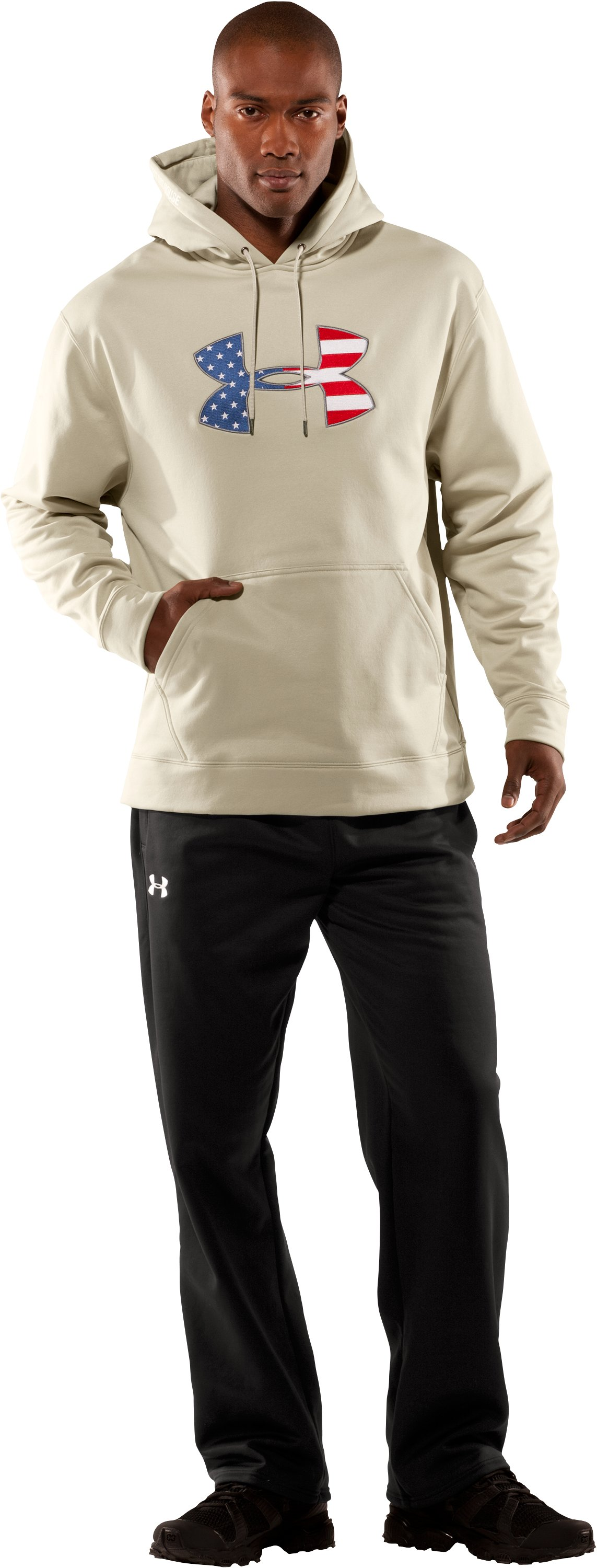 Men's Big Flag Logo Tackle Twill Fleece Hoodie, Desert Sand, Front