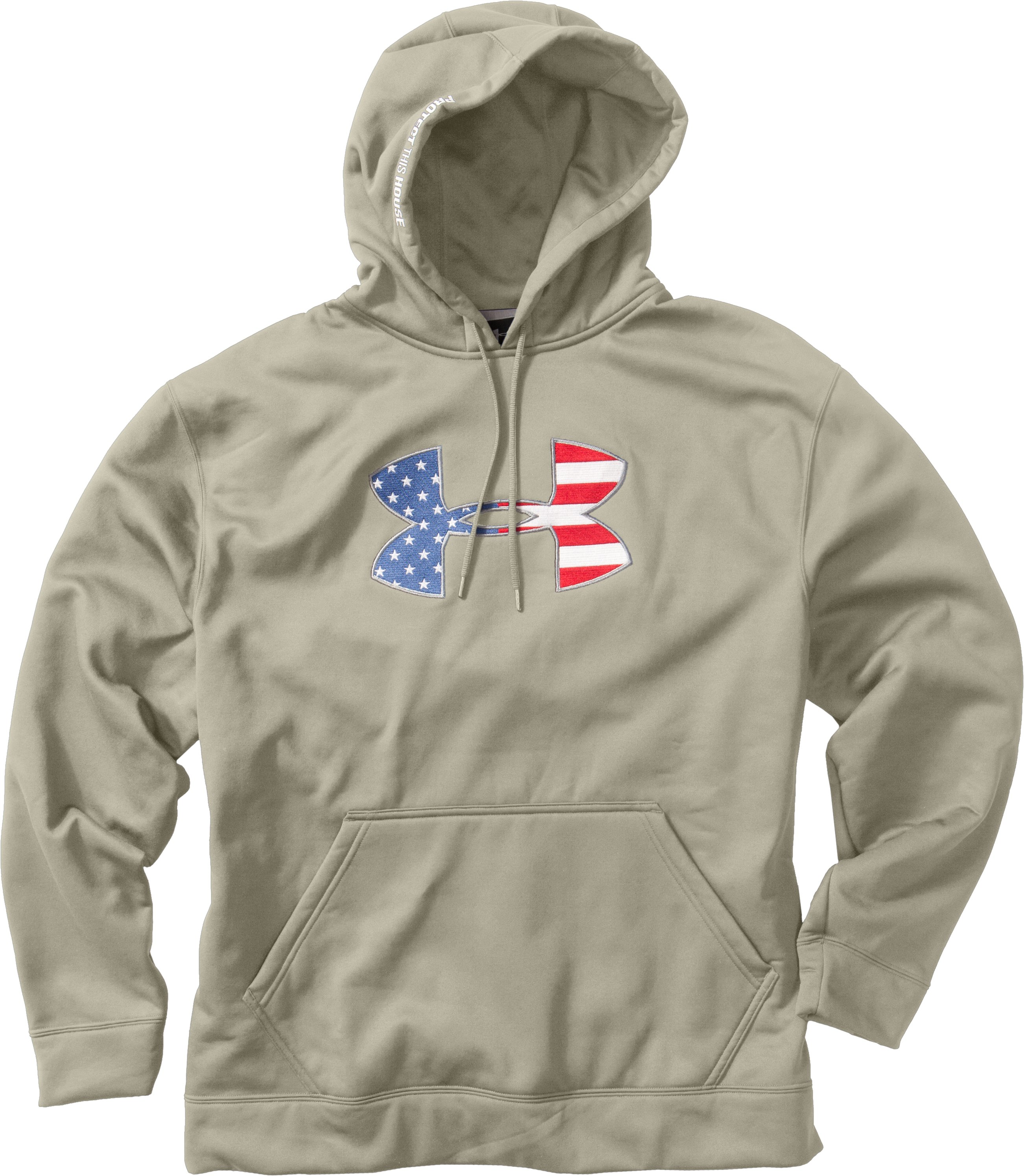 Men's Big Flag Logo Tackle Twill Fleece Hoodie, Desert Sand, Laydown