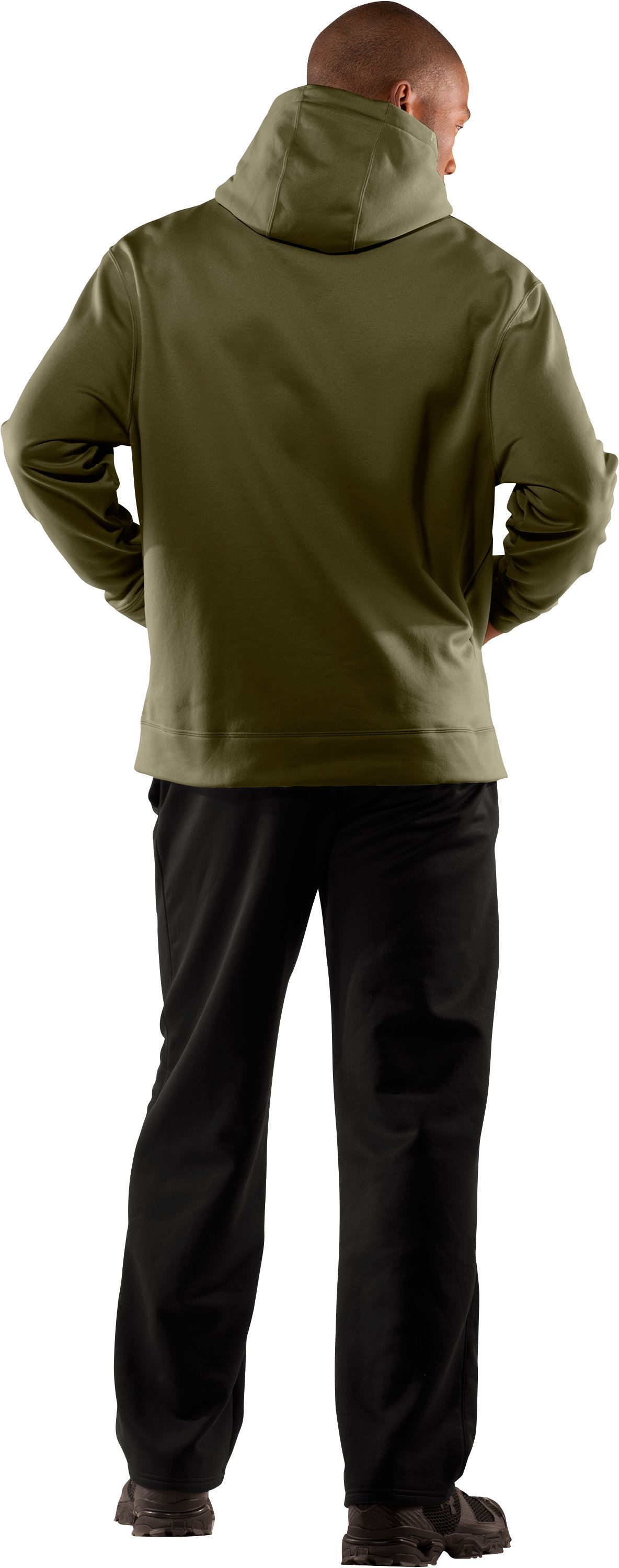 Men's Big Flag Logo Tackle Twill Fleece Hoodie, Marine OD Green, Back