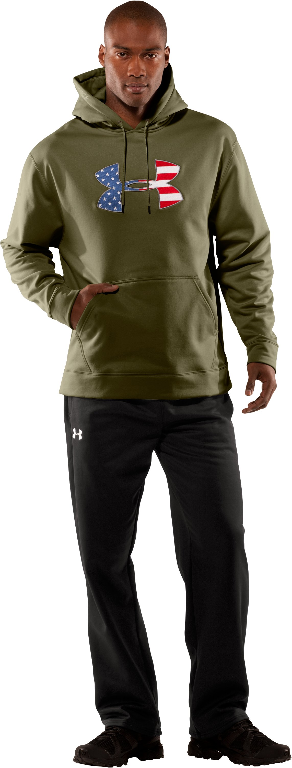 Men's Big Flag Logo Tackle Twill Fleece Hoodie, Marine OD Green, Front