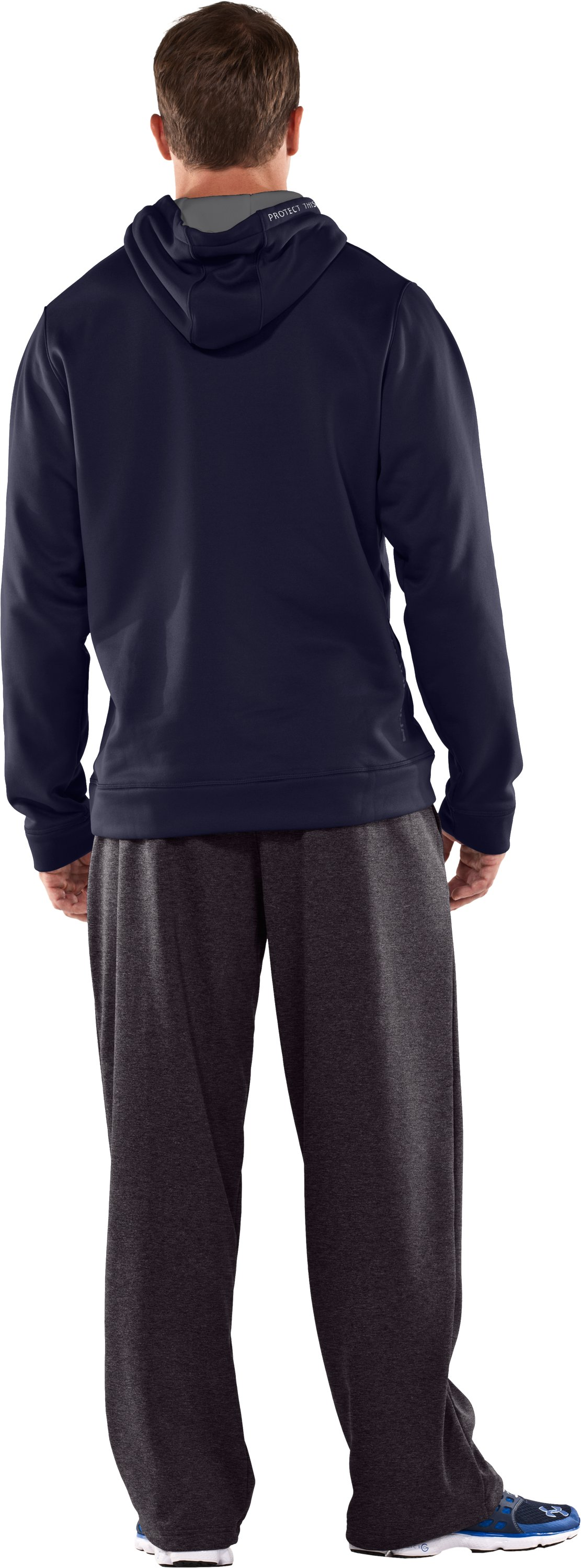 Men's Big Flag Logo Tackle Twill Fleece Hoodie, Midnight Navy, Back