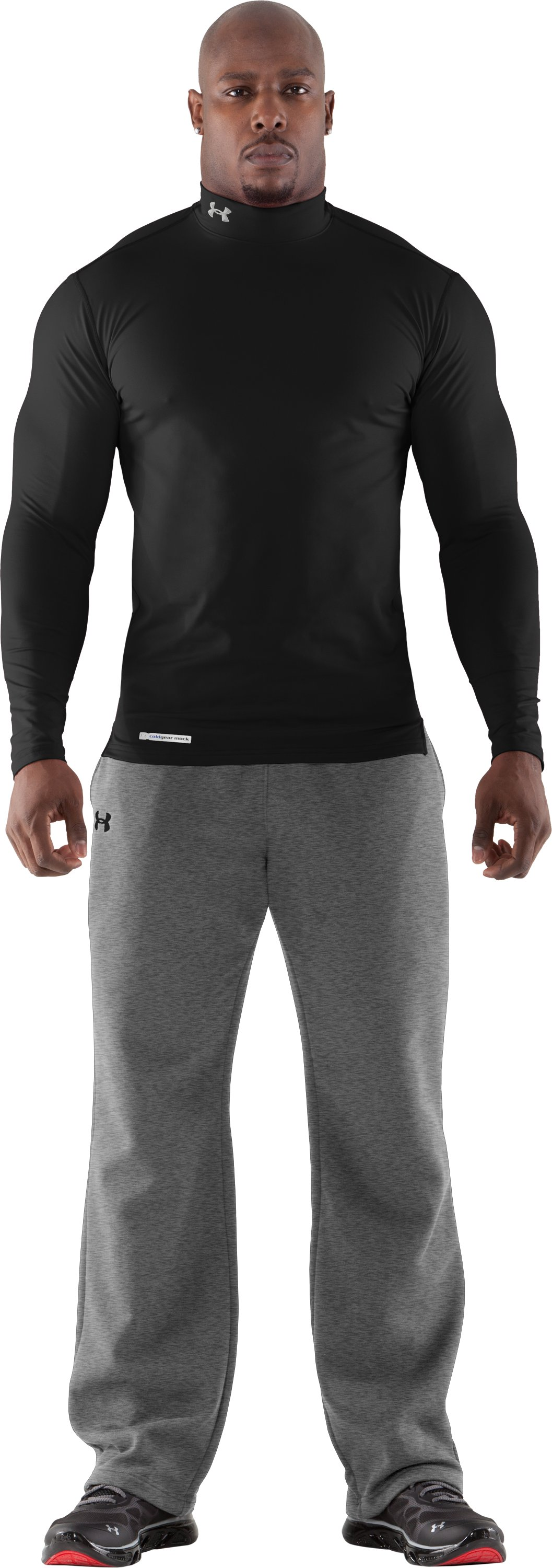 Men's ColdGear® Fitted Long Sleeve Mock, Black
