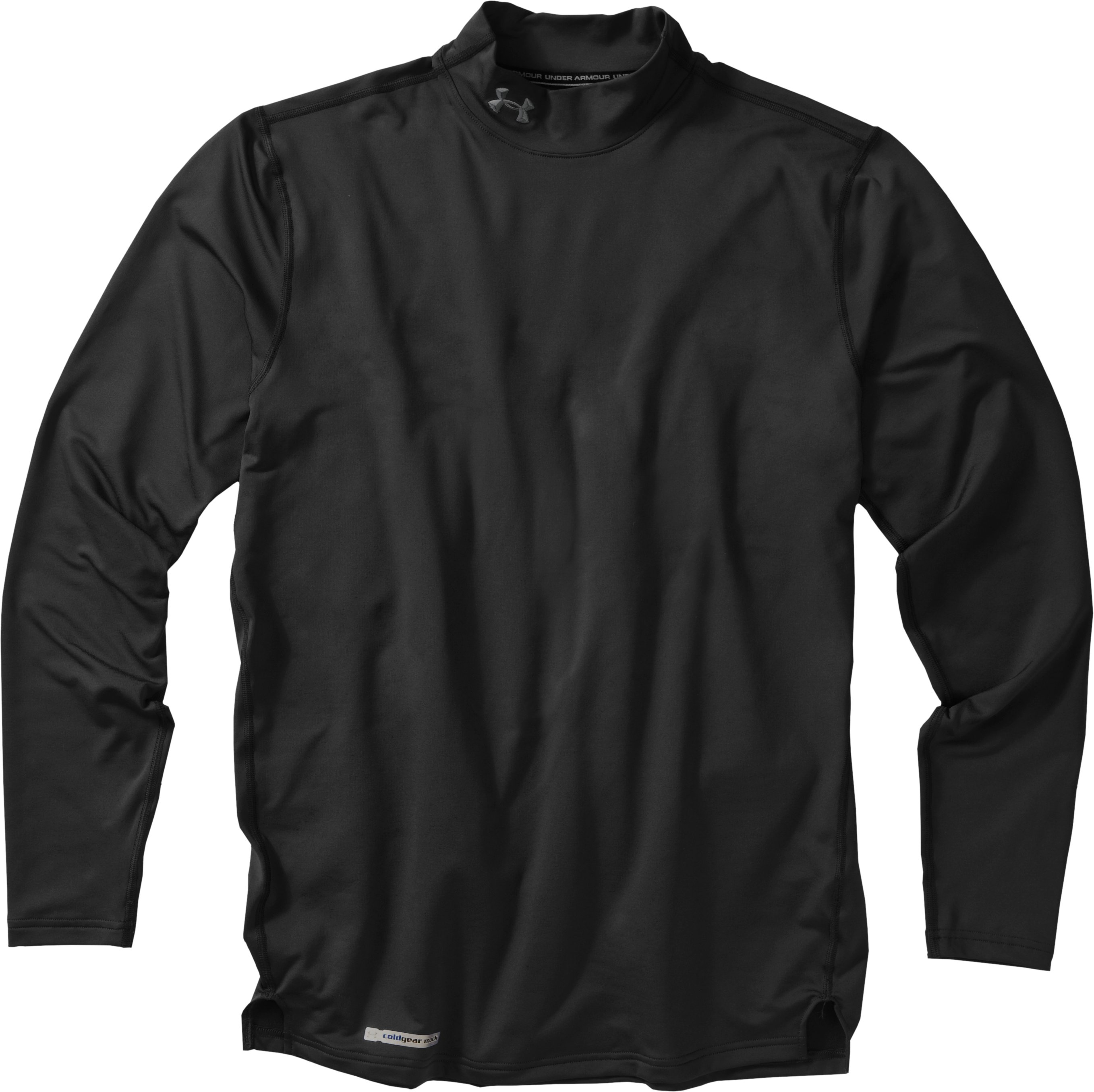 Men's ColdGear® Fitted Long Sleeve Mock, Black , Laydown