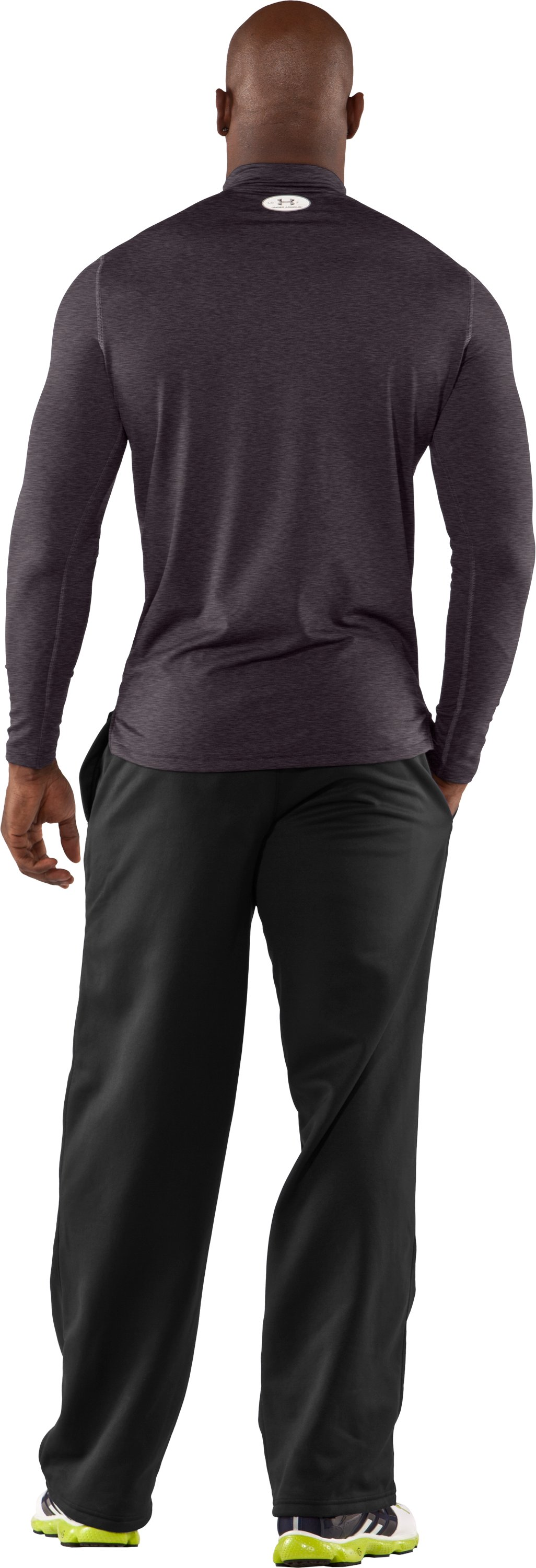 Men's ColdGear® Fitted Long Sleeve Mock, Carbon Heather, Back