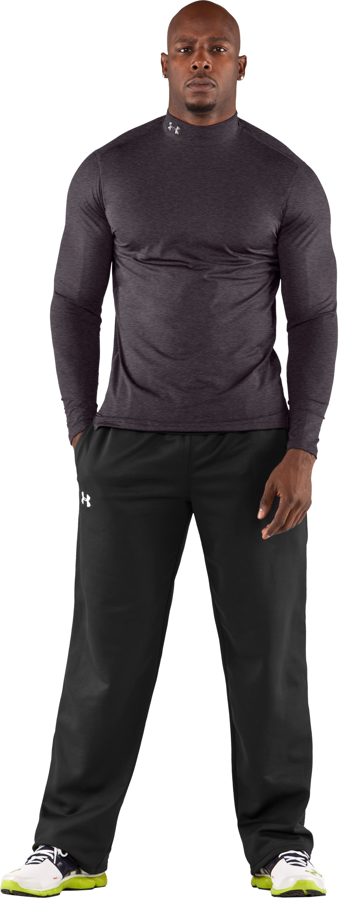 Men's ColdGear® Fitted Long Sleeve Mock, Carbon Heather, Front