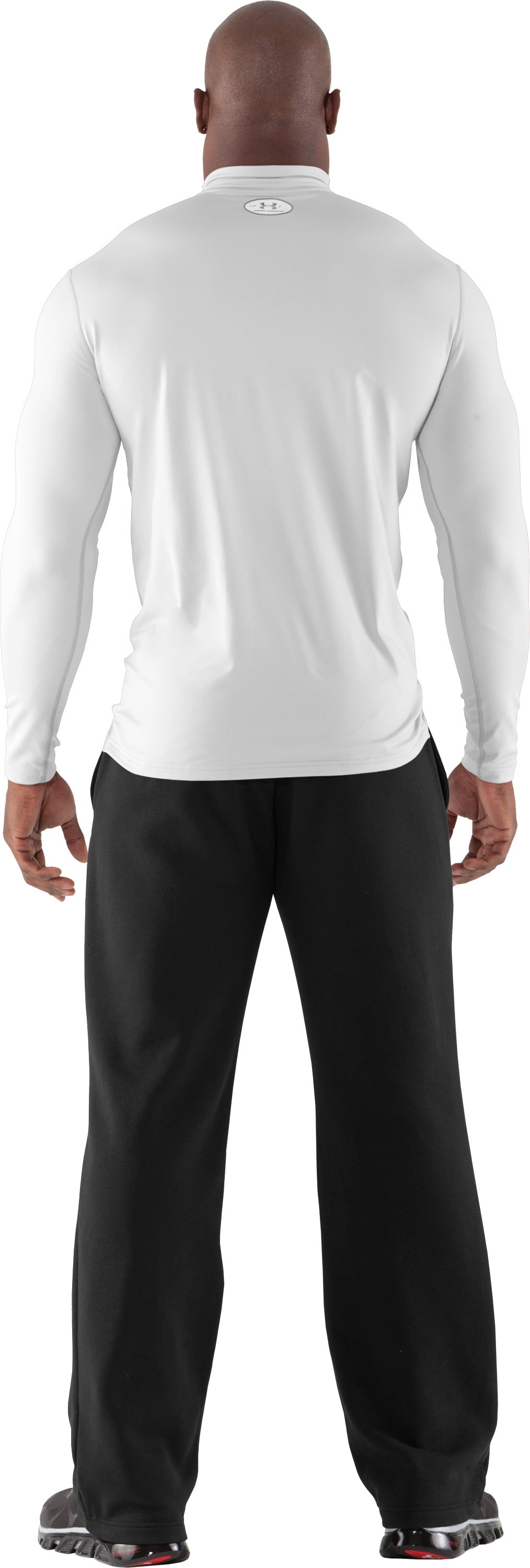 Men's ColdGear® Fitted Long Sleeve Mock, White, Back