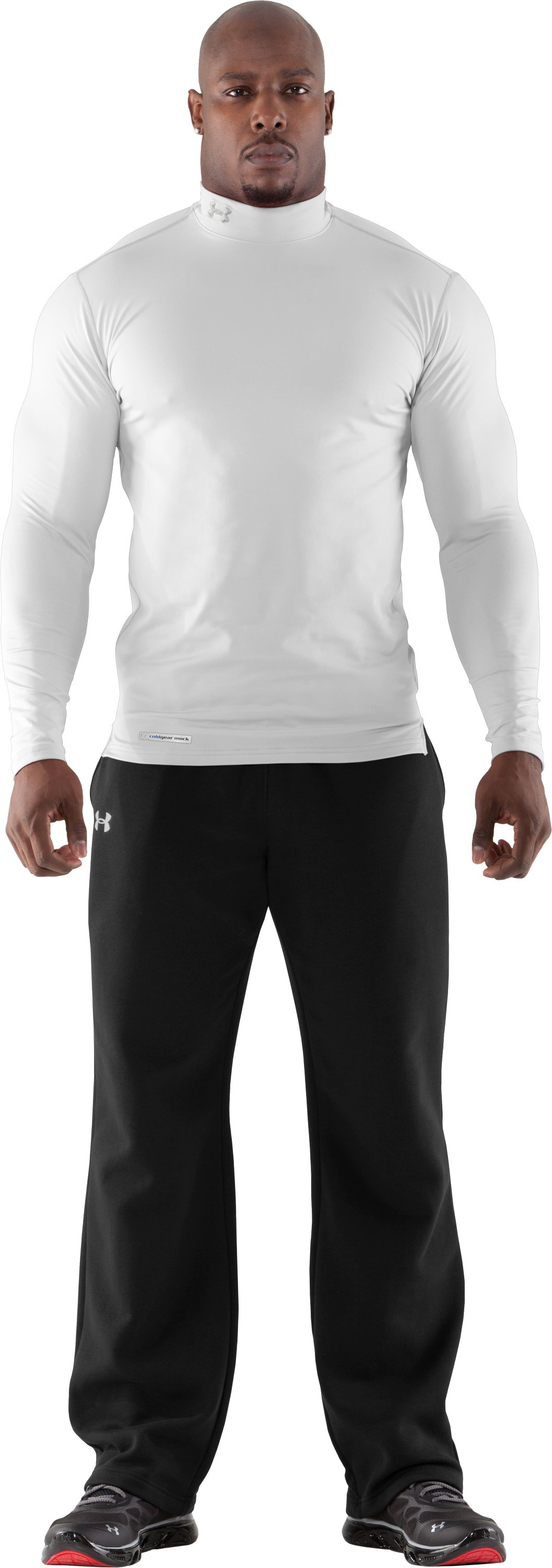 Men's ColdGear® Fitted Long Sleeve Mock, White, Front
