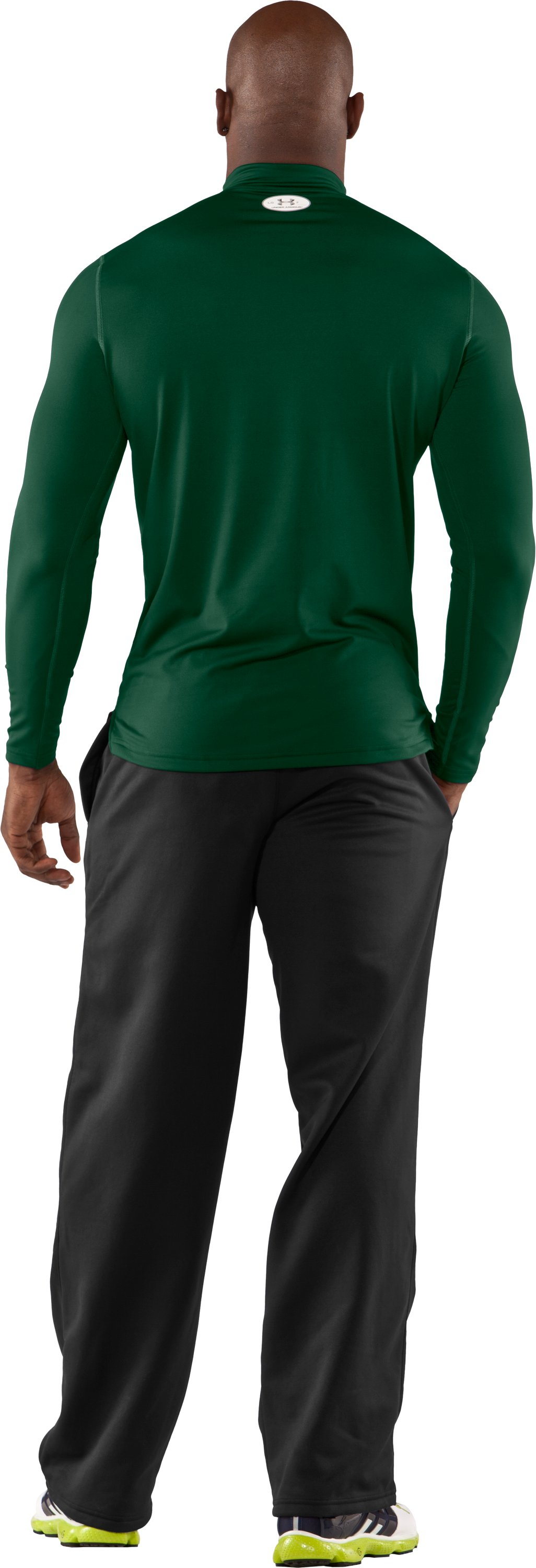 Men's ColdGear® Fitted Long Sleeve Mock, Forest Green, Back