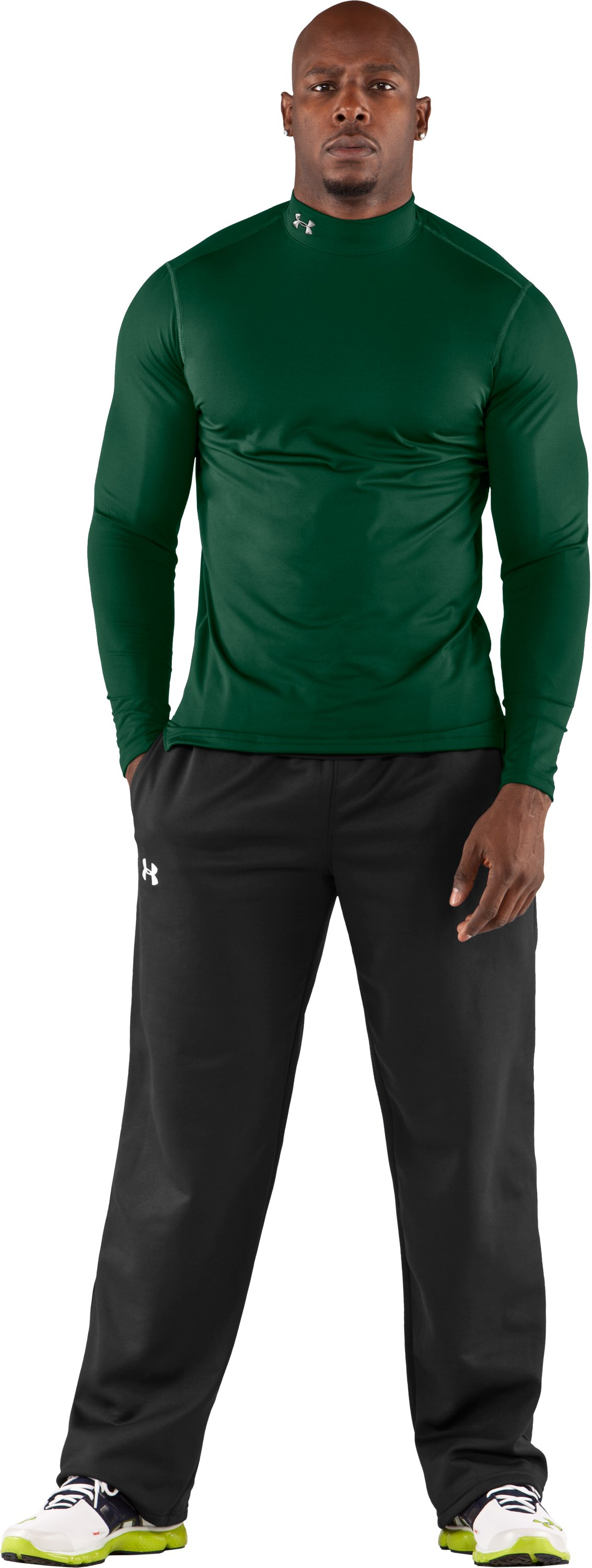 Men's ColdGear® Fitted Long Sleeve Mock, Forest Green, Front