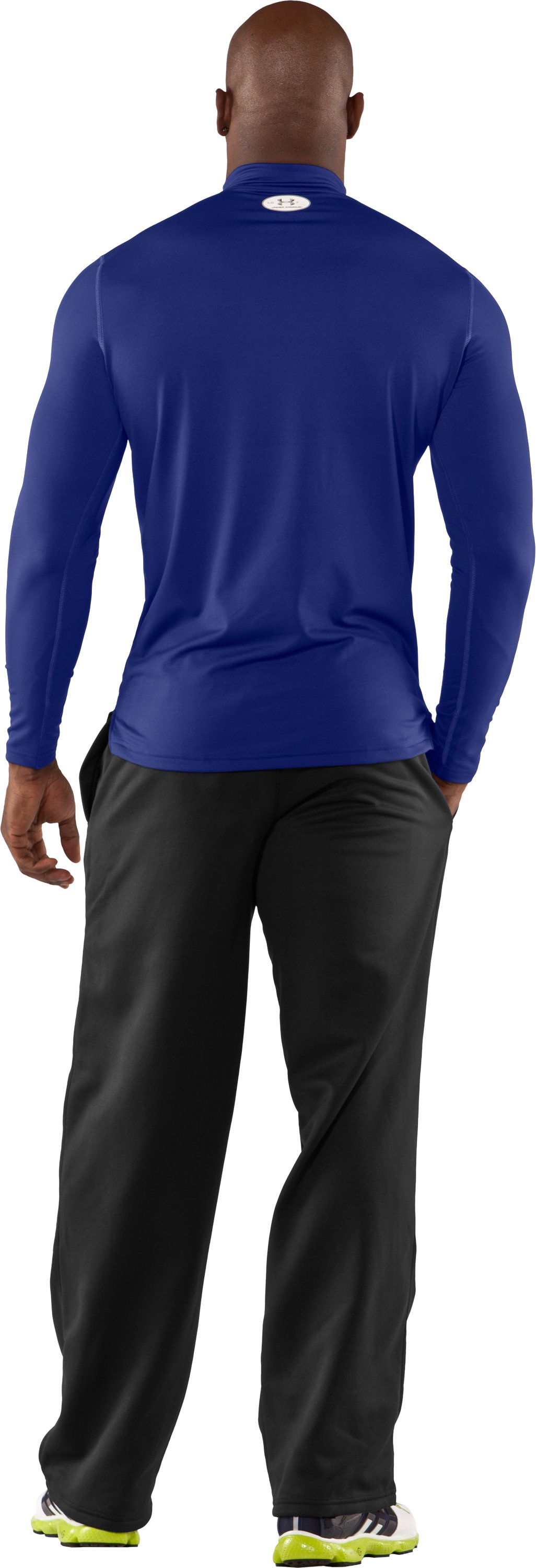 Men's ColdGear® Fitted Long Sleeve Mock, Royal, Back
